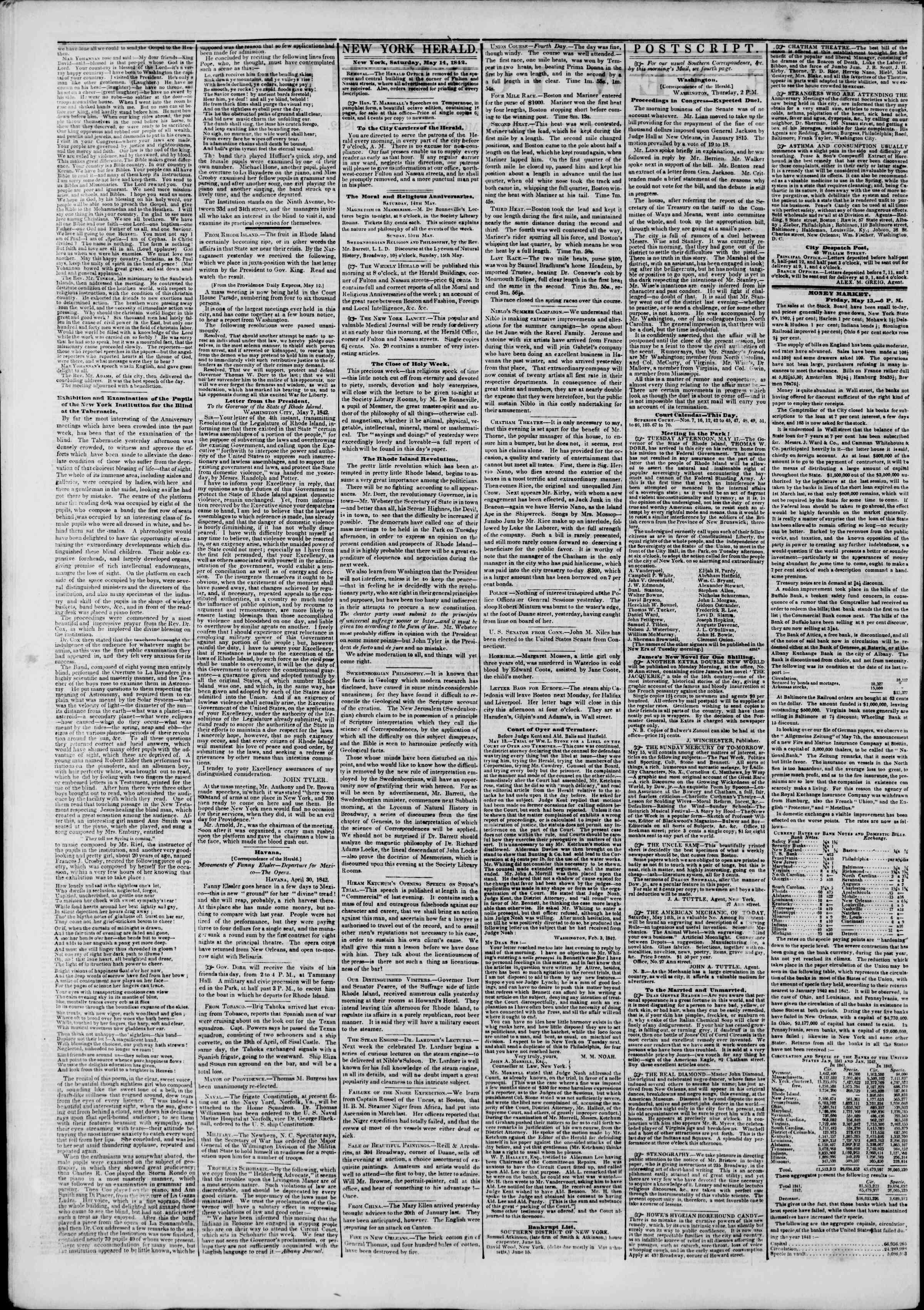May 14, 1842 Tarihli The New York Herald Gazetesi Sayfa 2