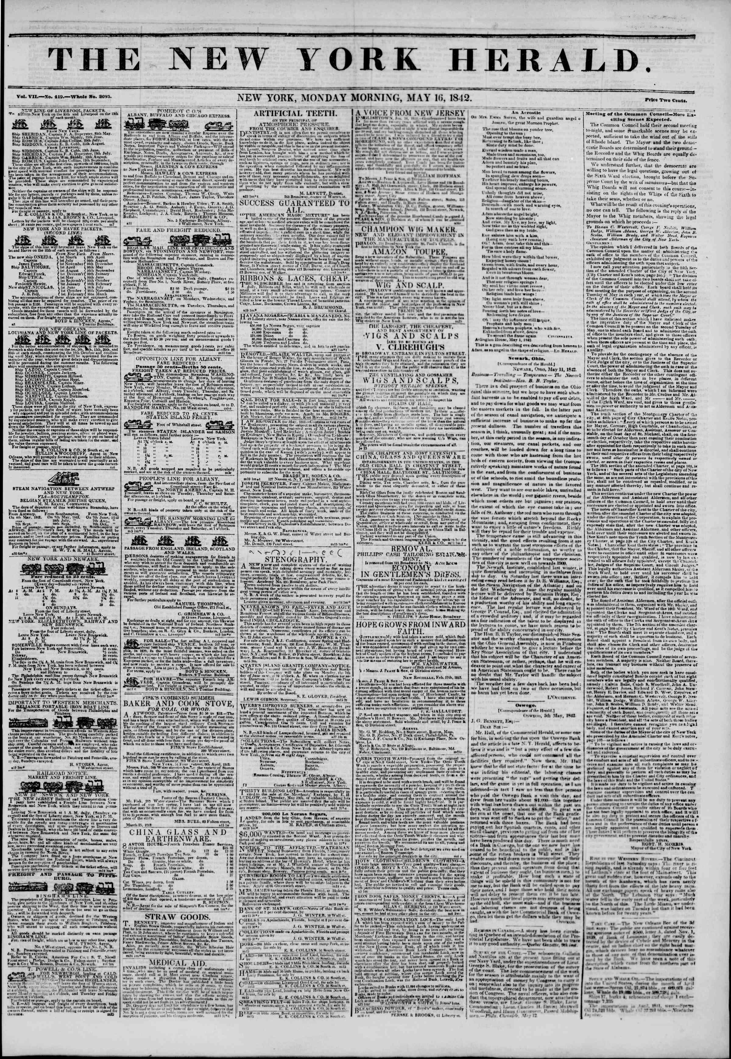 16 Mayıs 1842 Tarihli The New York Herald Gazetesi Sayfa 1