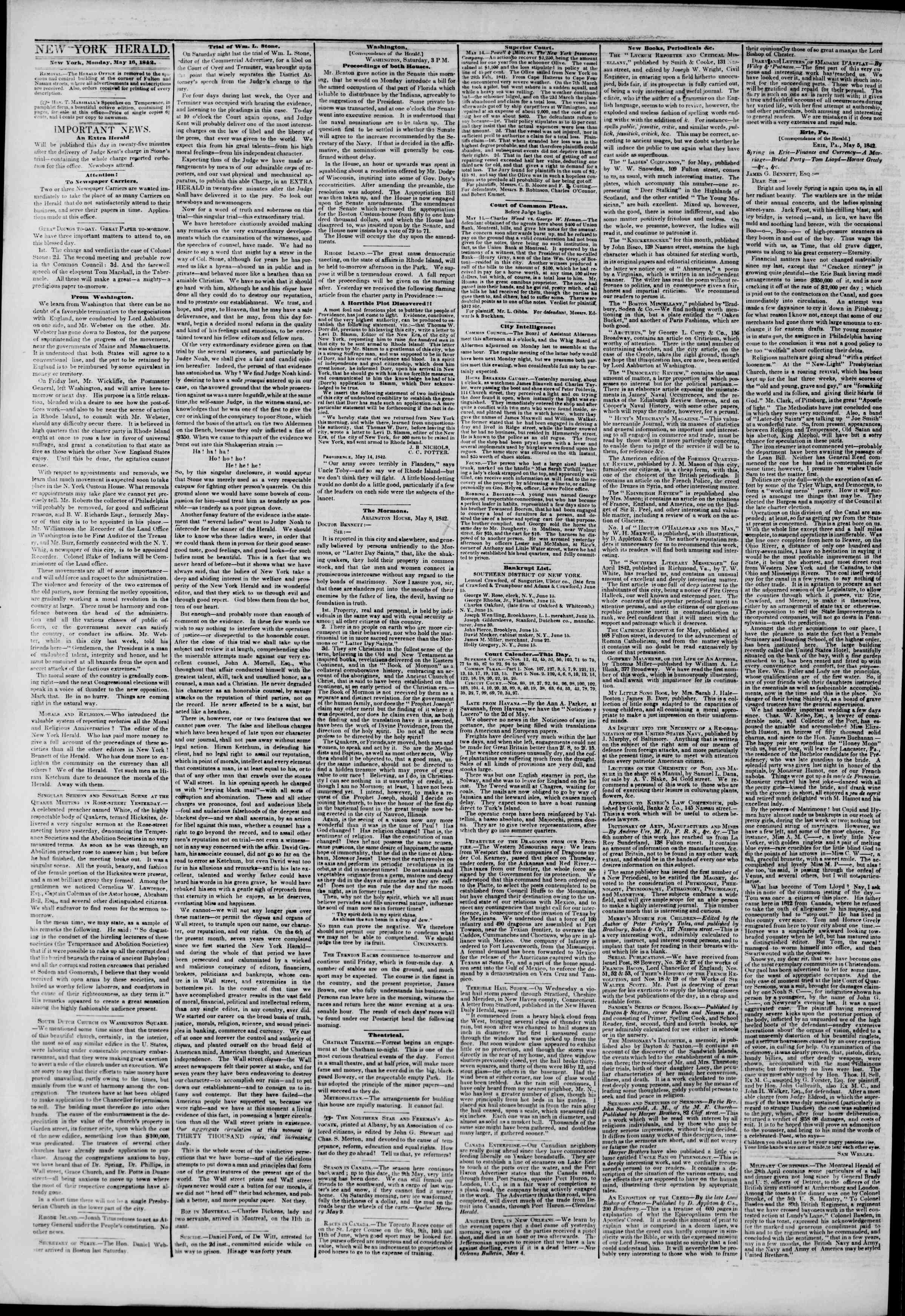 Newspaper of The New York Herald dated May 16, 1842 Page 2