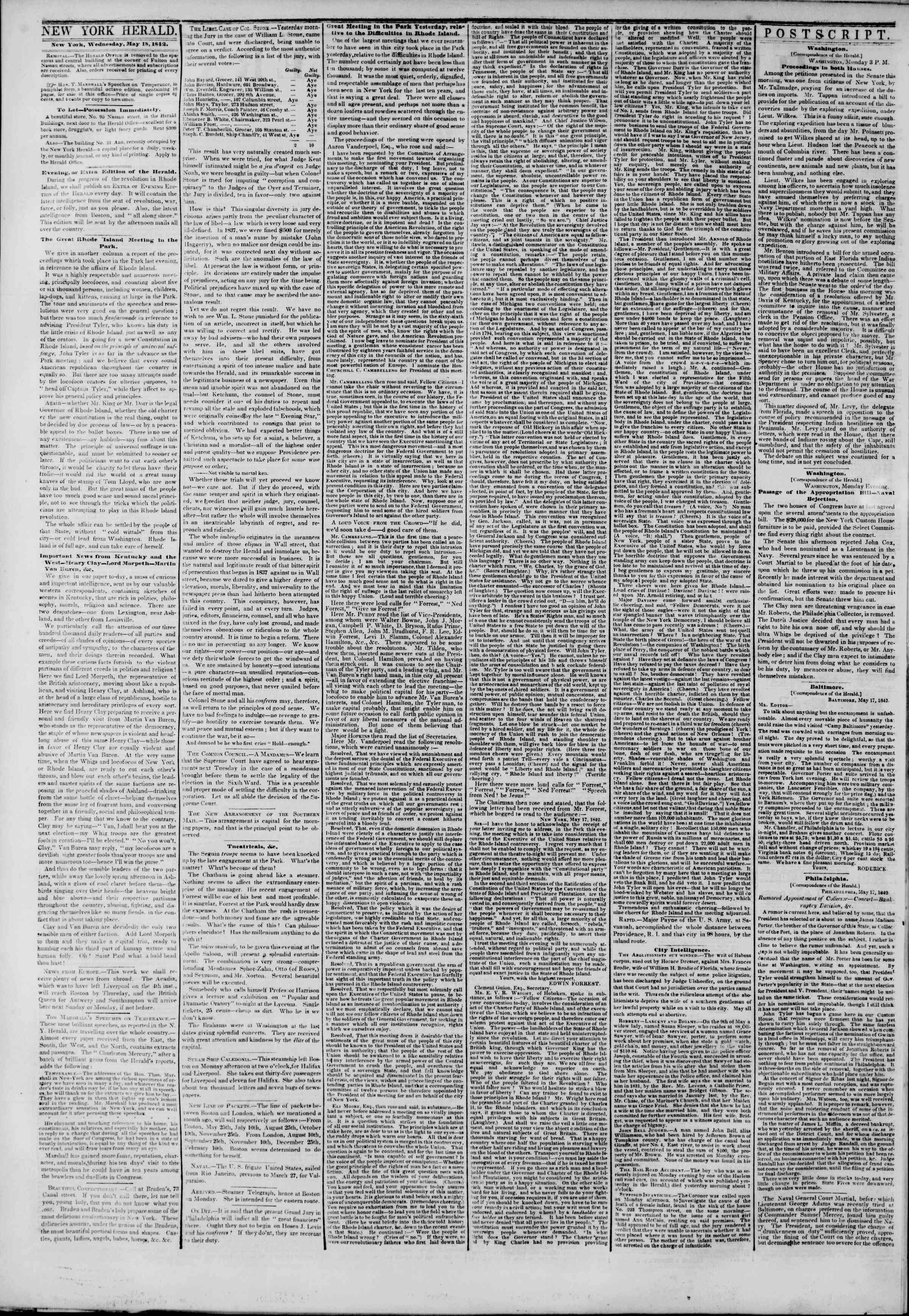 May 18, 1842 Tarihli The New York Herald Gazetesi Sayfa 2