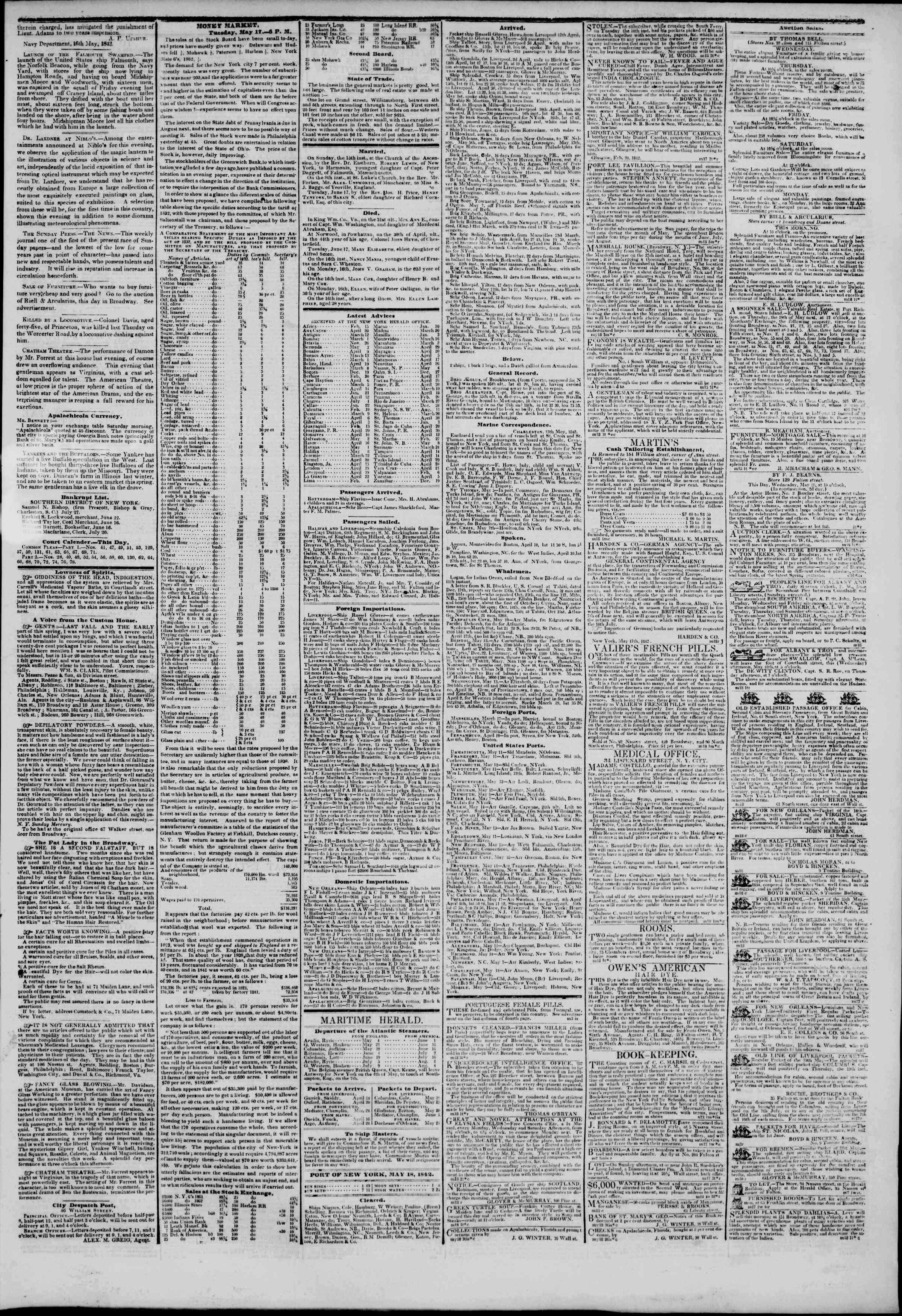 May 18, 1842 Tarihli The New York Herald Gazetesi Sayfa 3