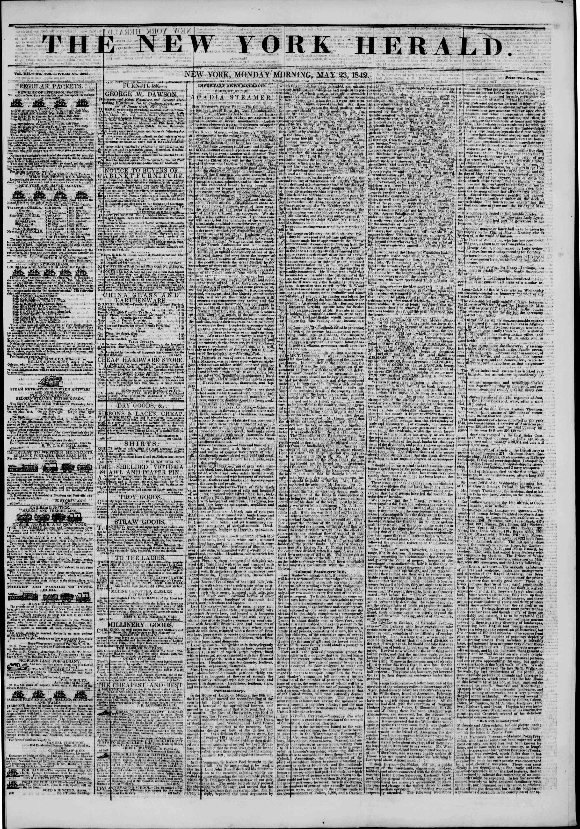 Newspaper of The New York Herald dated May 23, 1842 Page 1