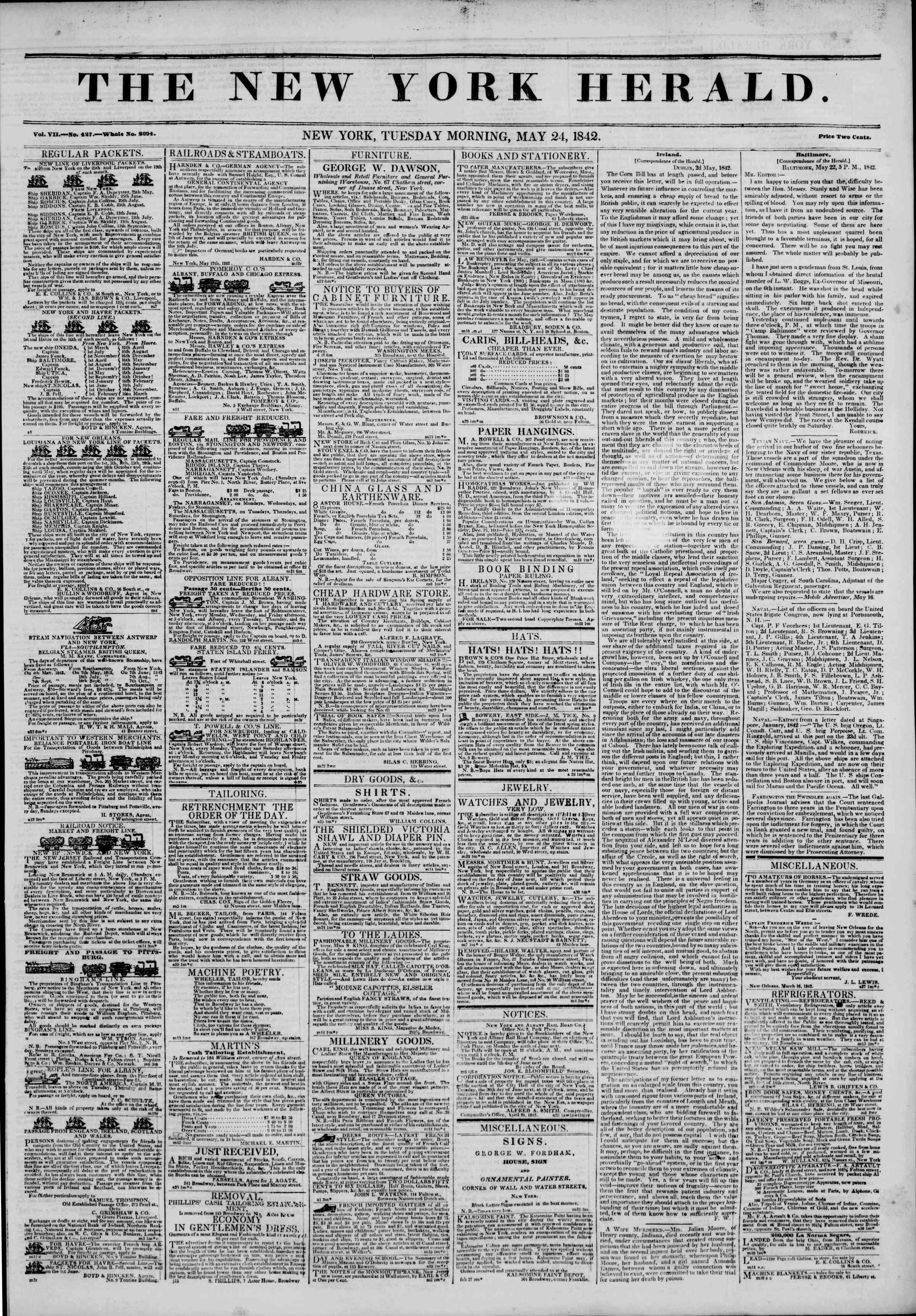 24 Mayıs 1842 tarihli The New York Herald Gazetesi Sayfa 1