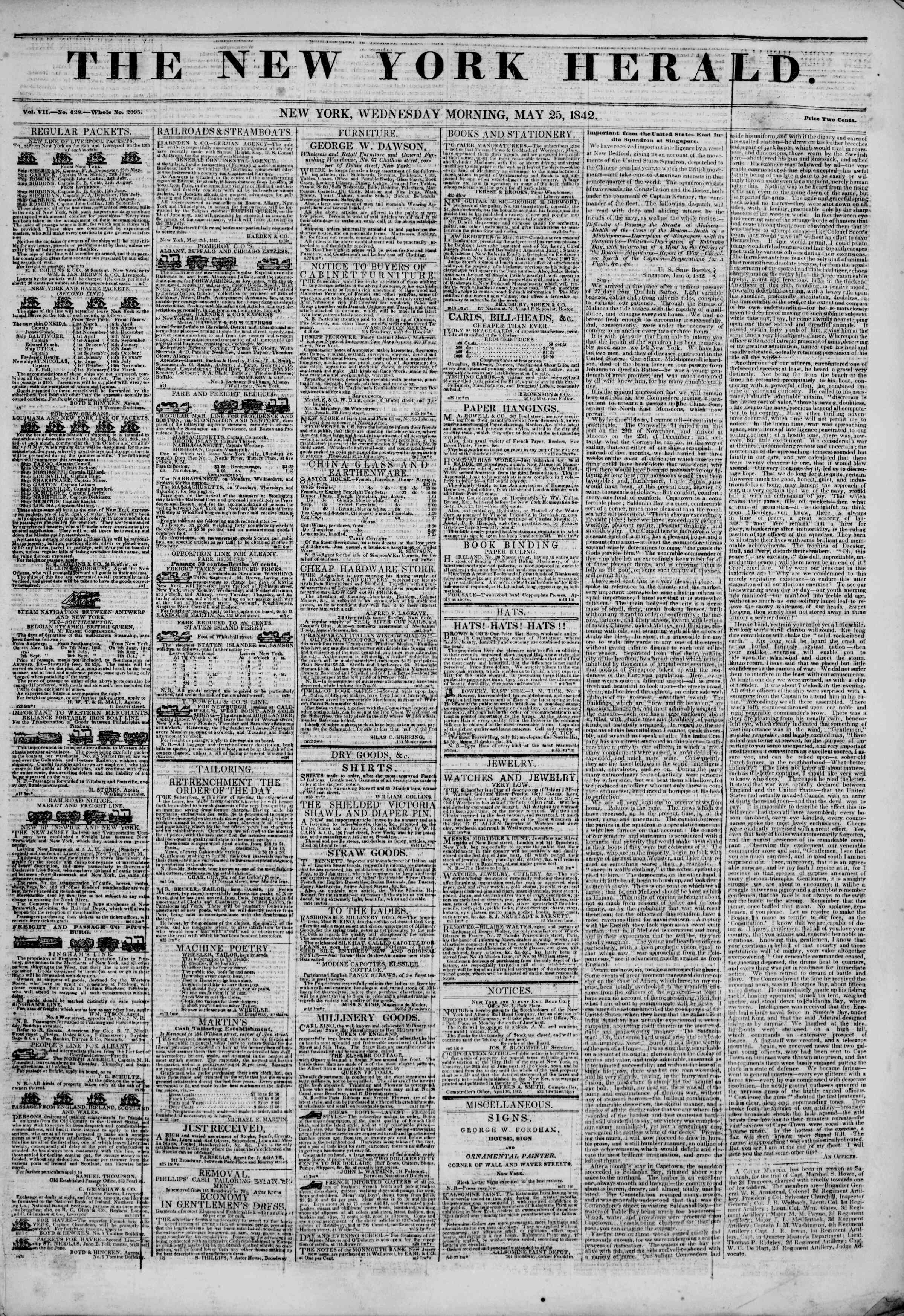 Newspaper of The New York Herald dated May 25, 1842 Page 1