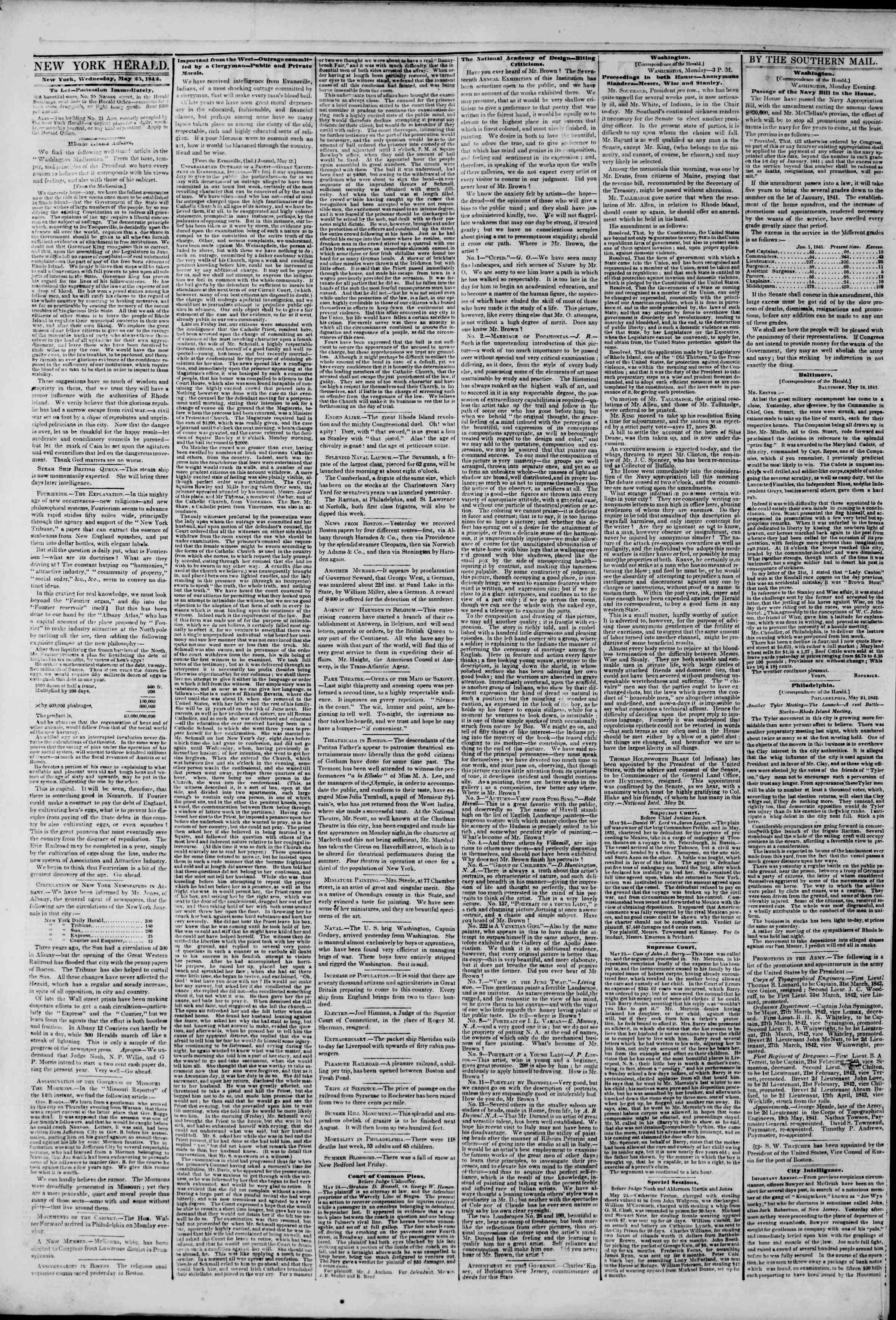 Newspaper of The New York Herald dated May 25, 1842 Page 2