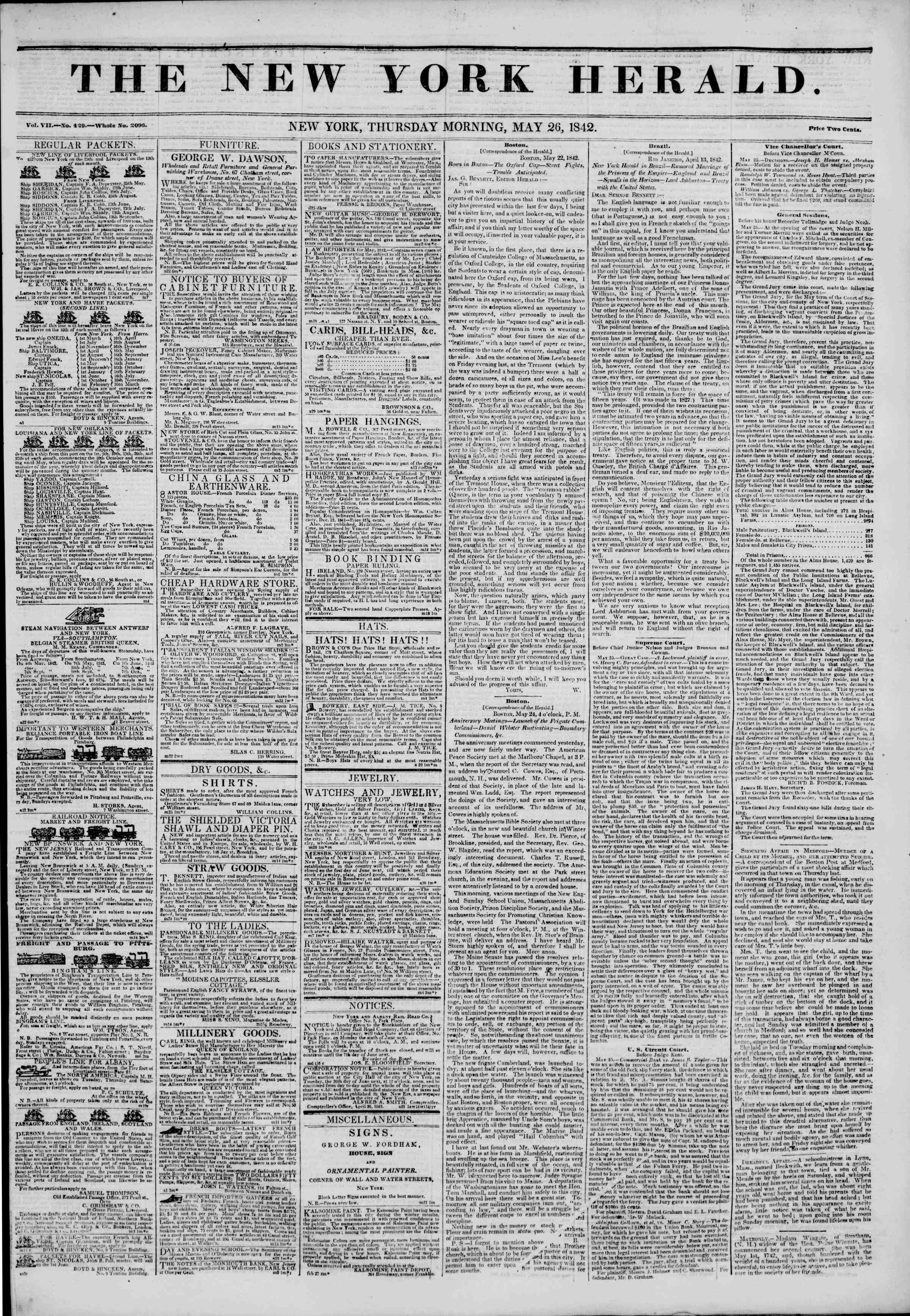Newspaper of The New York Herald dated May 26, 1842 Page 1
