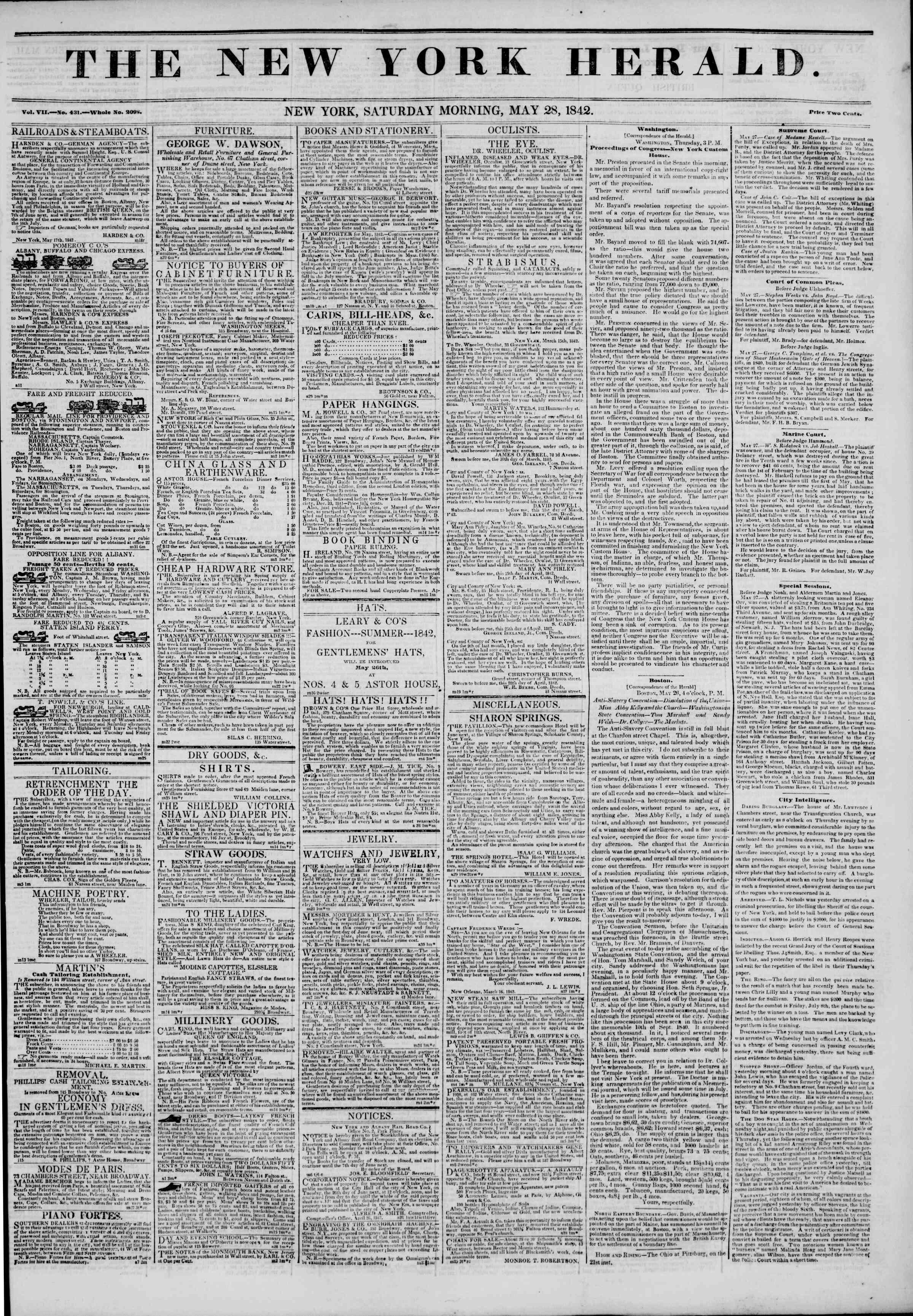 May 28, 1842 Tarihli The New York Herald Gazetesi Sayfa 1