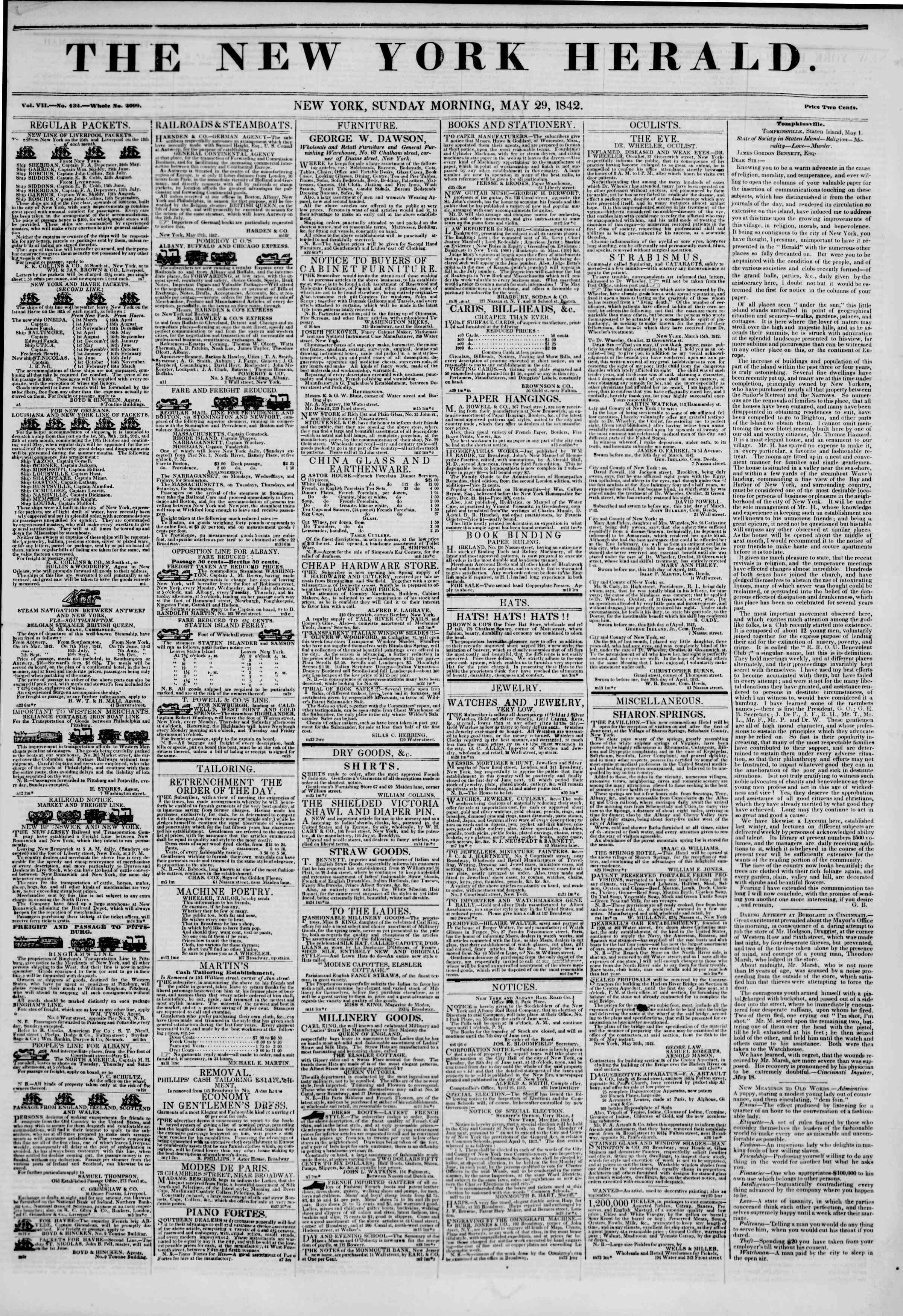 May 29, 1842 Tarihli The New York Herald Gazetesi Sayfa 1