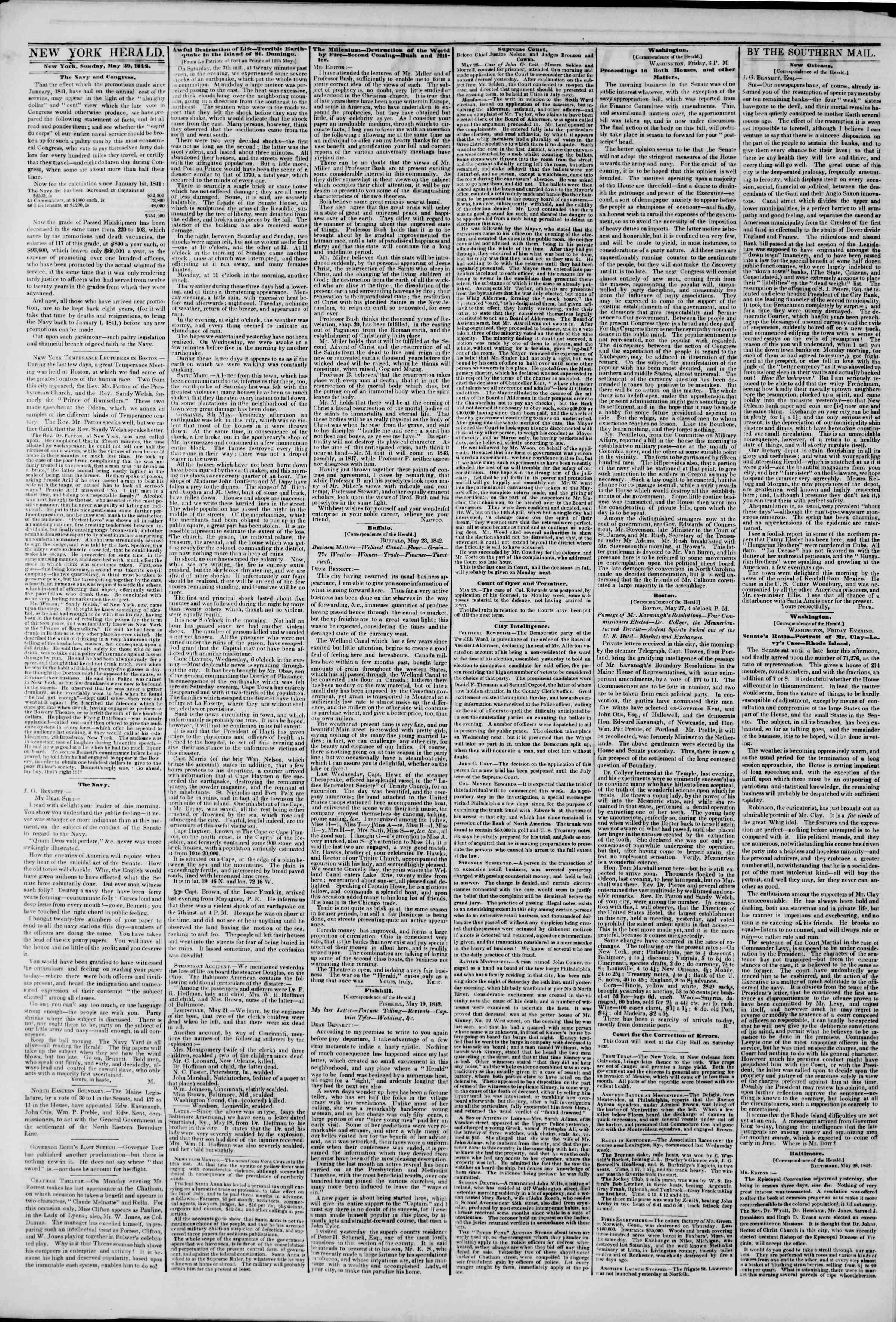 May 29, 1842 Tarihli The New York Herald Gazetesi Sayfa 2