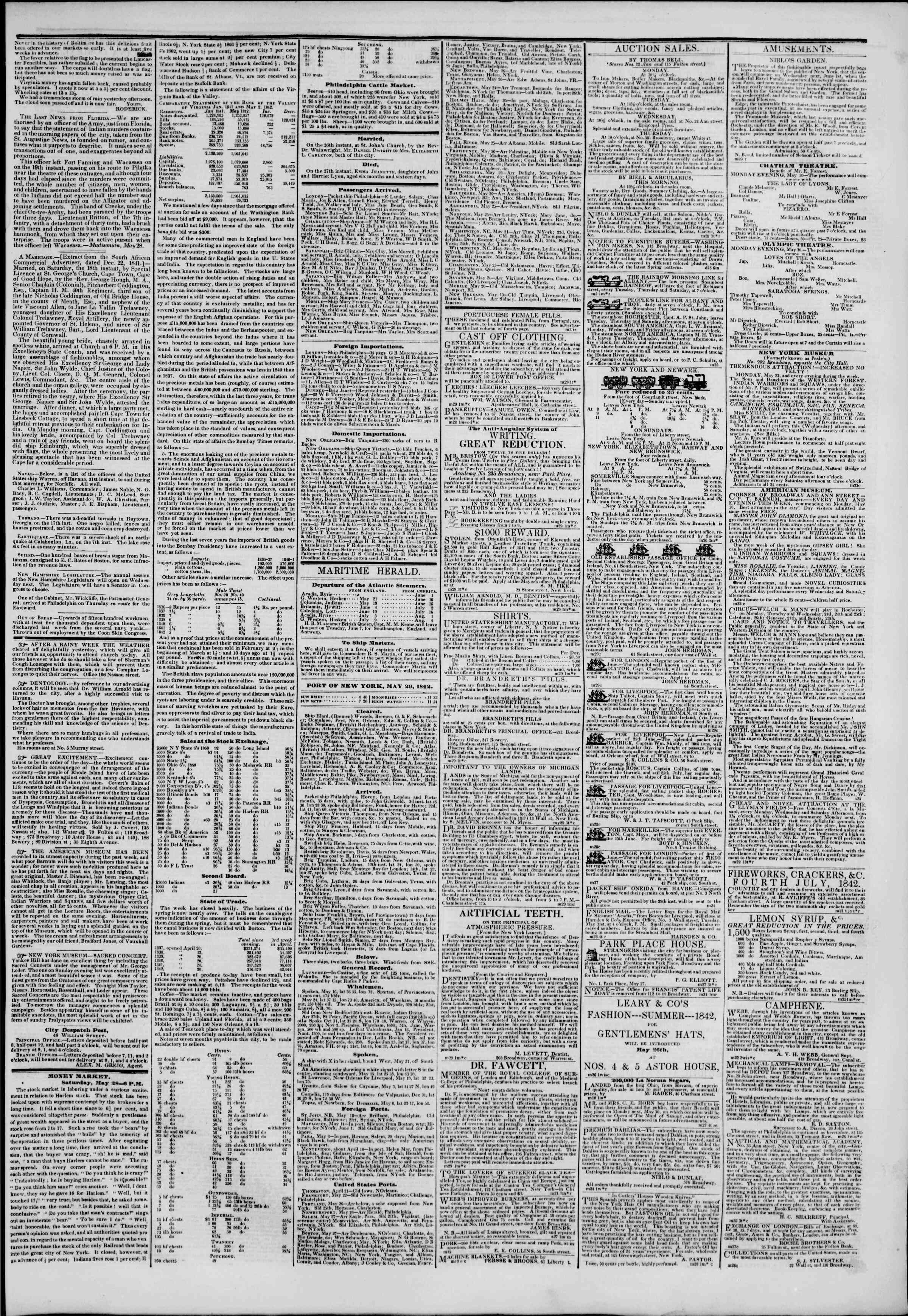 Newspaper of The New York Herald dated May 29, 1842 Page 3