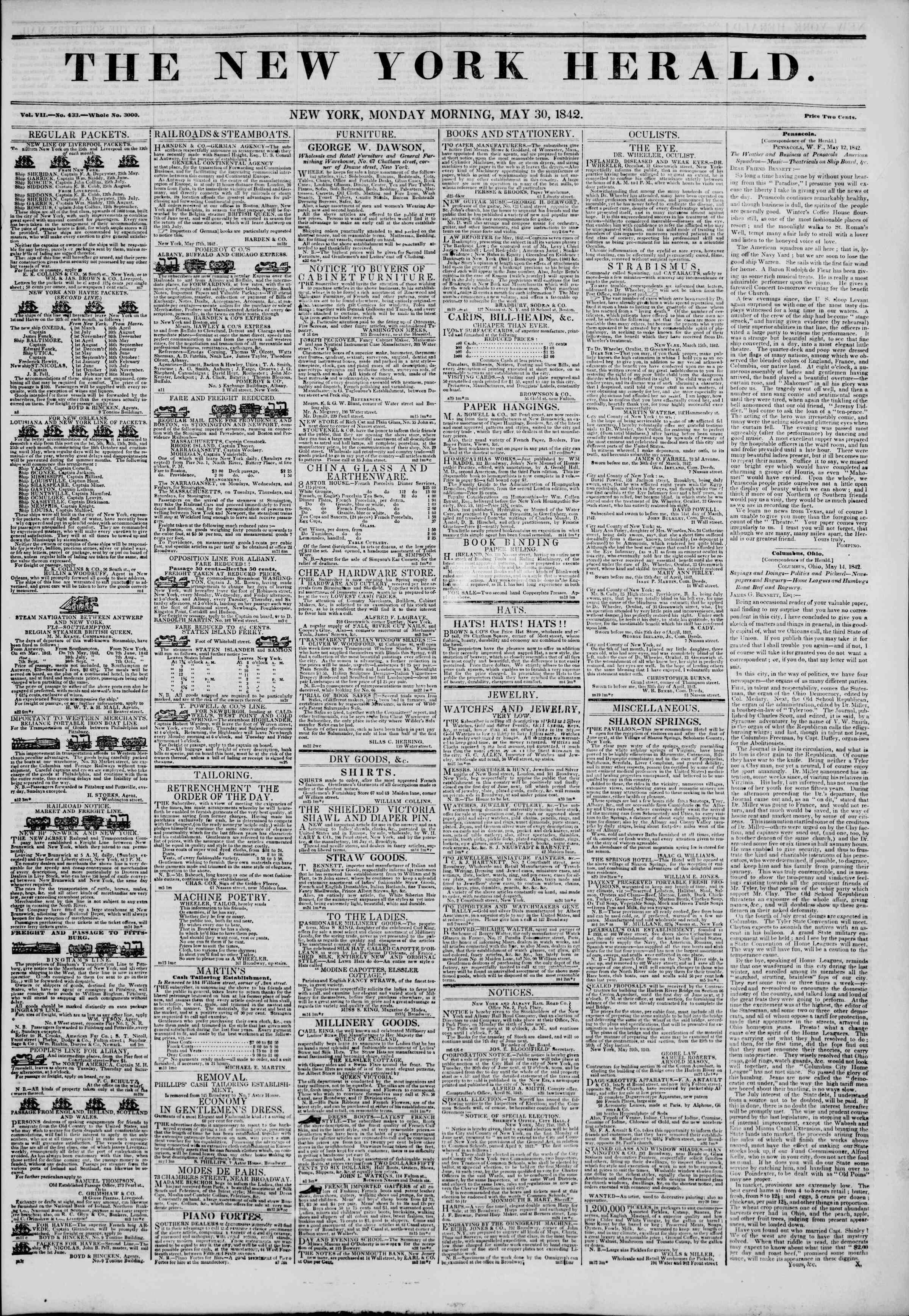 May 30, 1842 Tarihli The New York Herald Gazetesi Sayfa 1