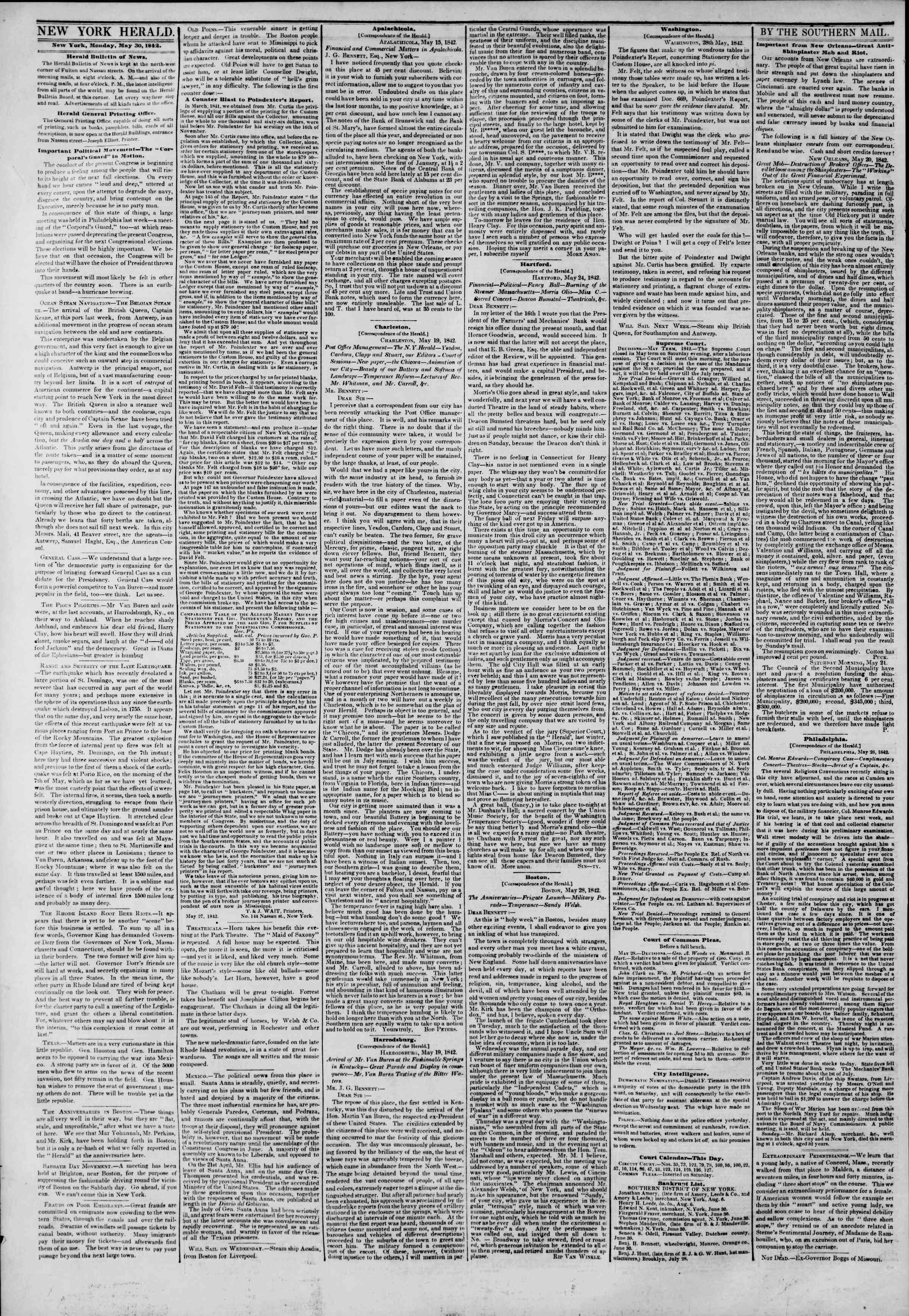 Newspaper of The New York Herald dated May 30, 1842 Page 2