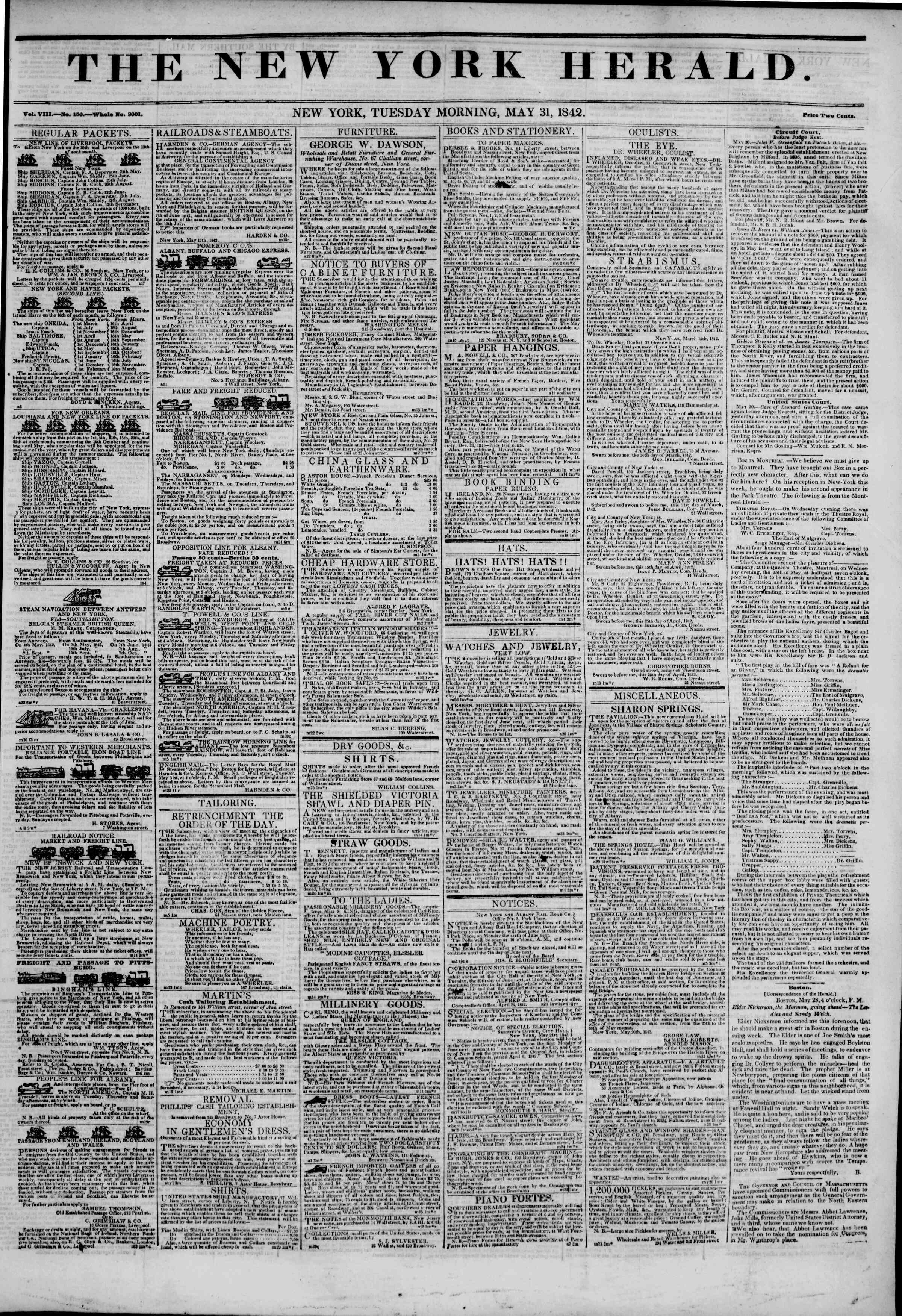 Newspaper of The New York Herald dated May 31, 1842 Page 1