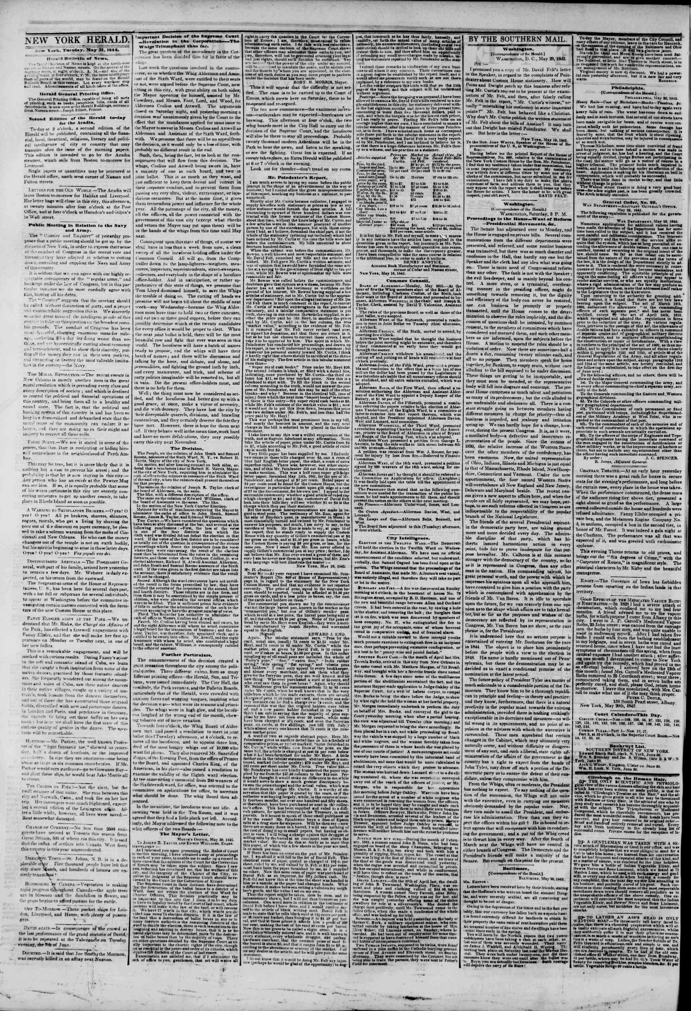 May 31, 1842 Tarihli The New York Herald Gazetesi Sayfa 2
