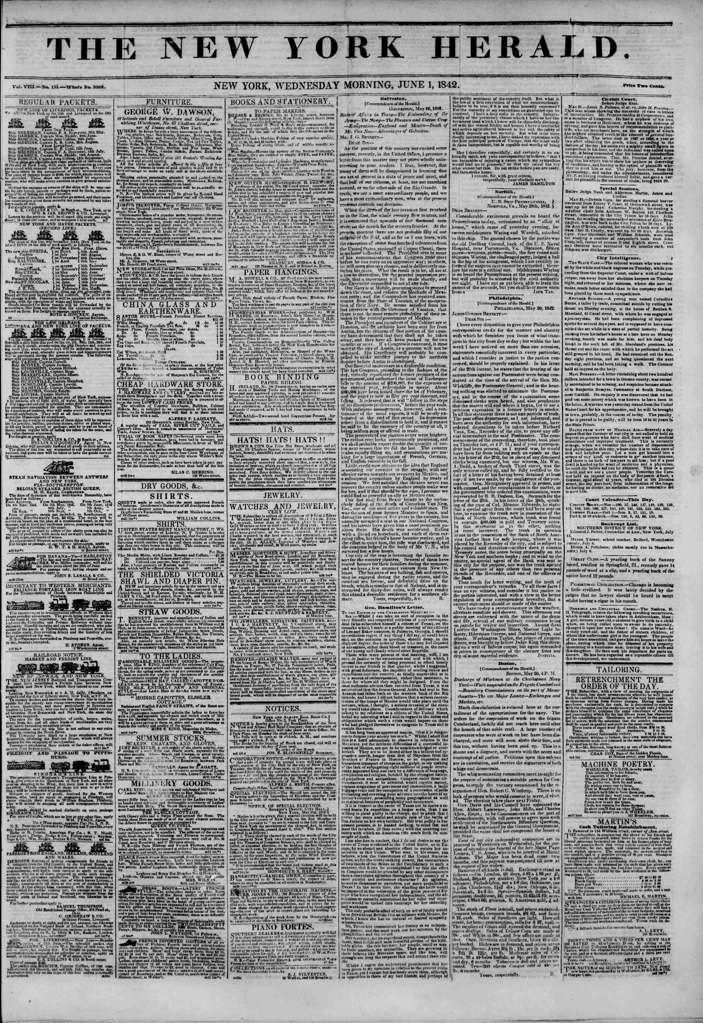 June 1, 1842 Tarihli The New York Herald Gazetesi Sayfa 1