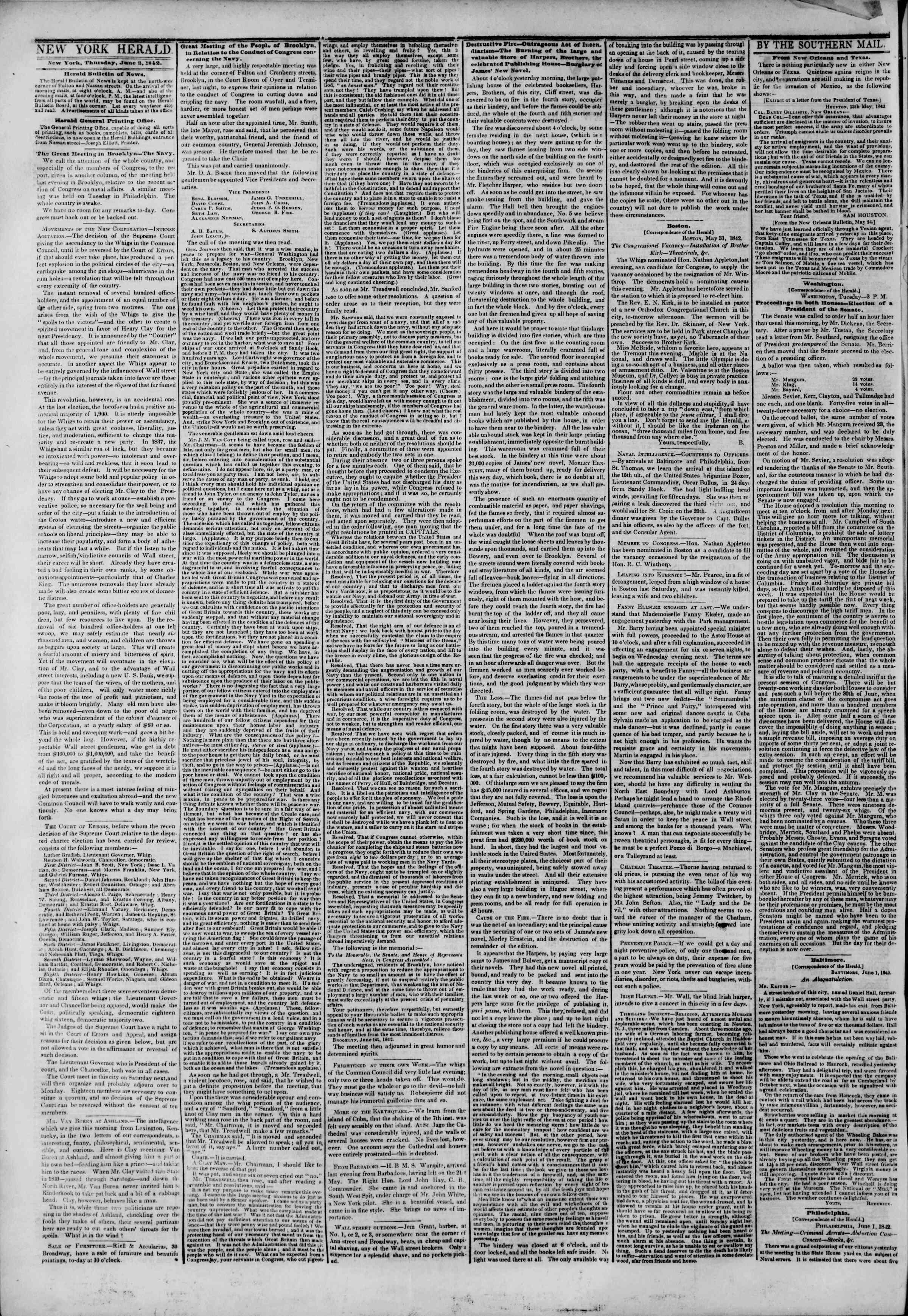 June 2, 1842 Tarihli The New York Herald Gazetesi Sayfa 2
