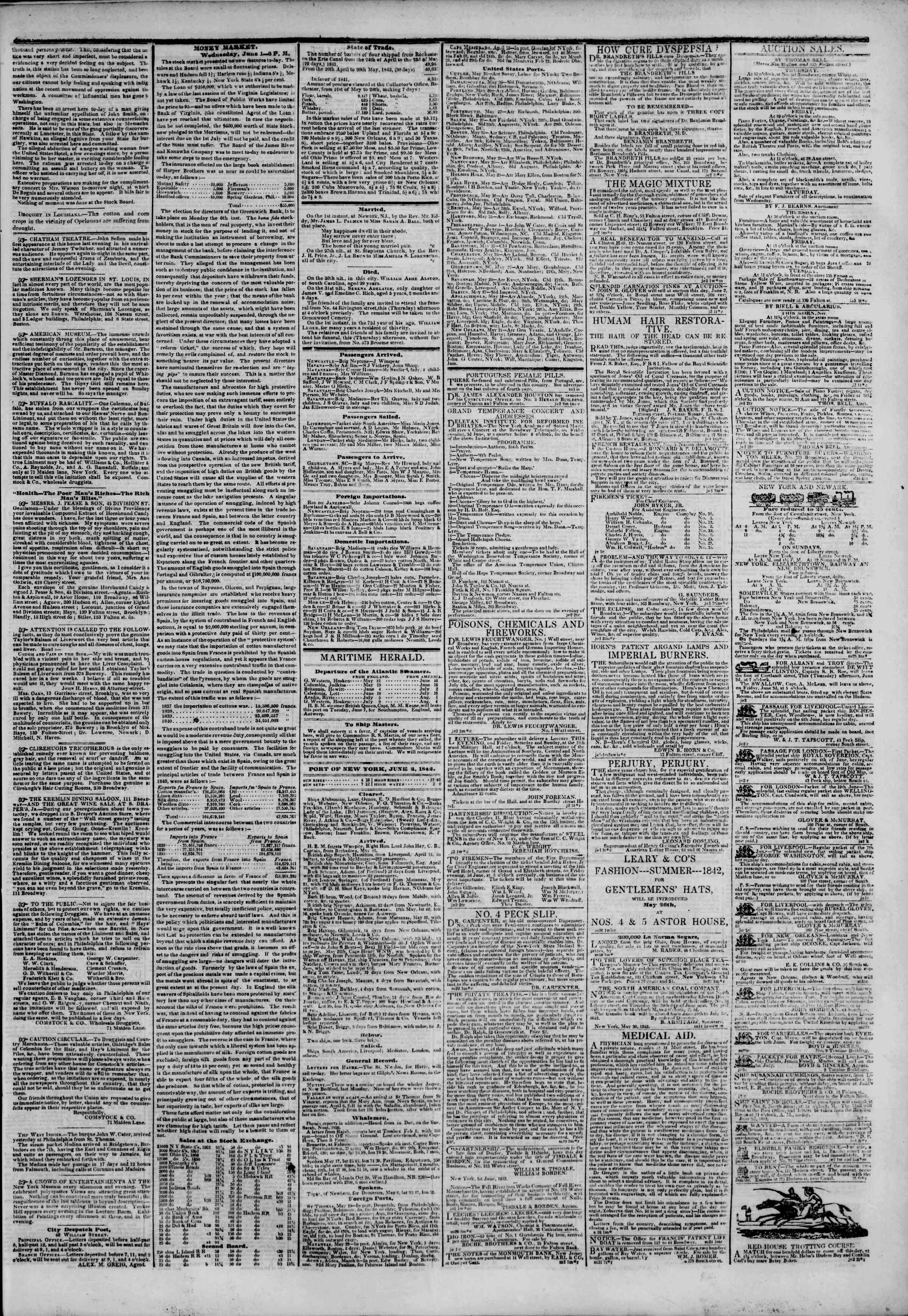 Newspaper of The New York Herald dated June 2, 1842 Page 3