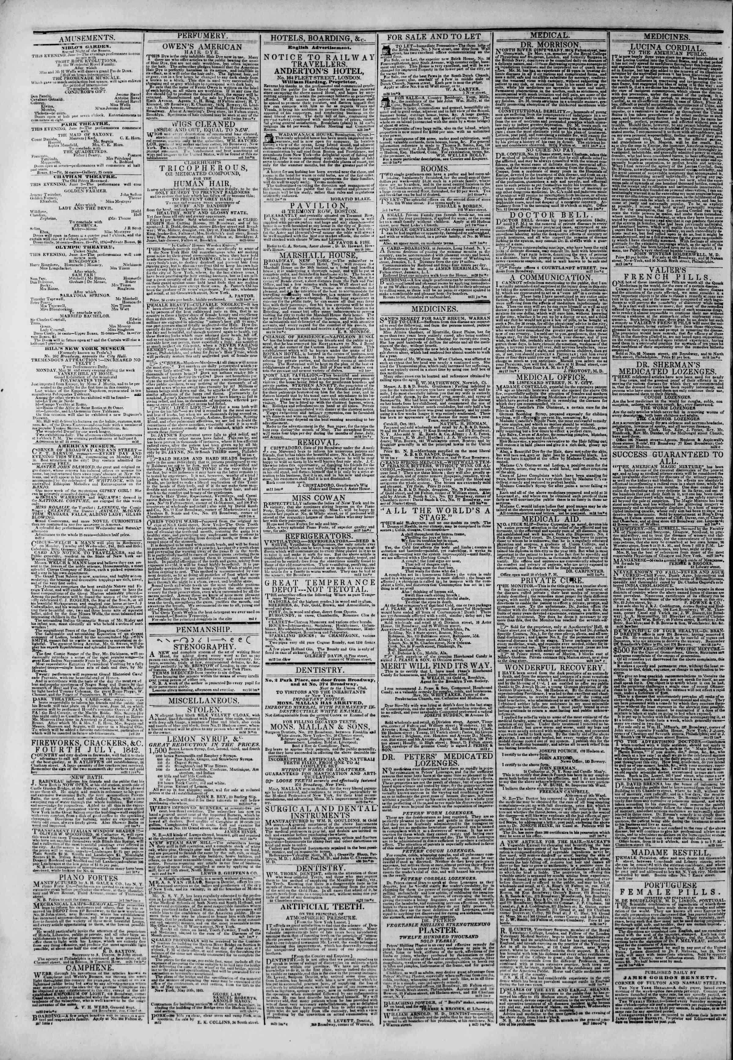 2 Haziran 1842 Tarihli The New York Herald Gazetesi Sayfa 4