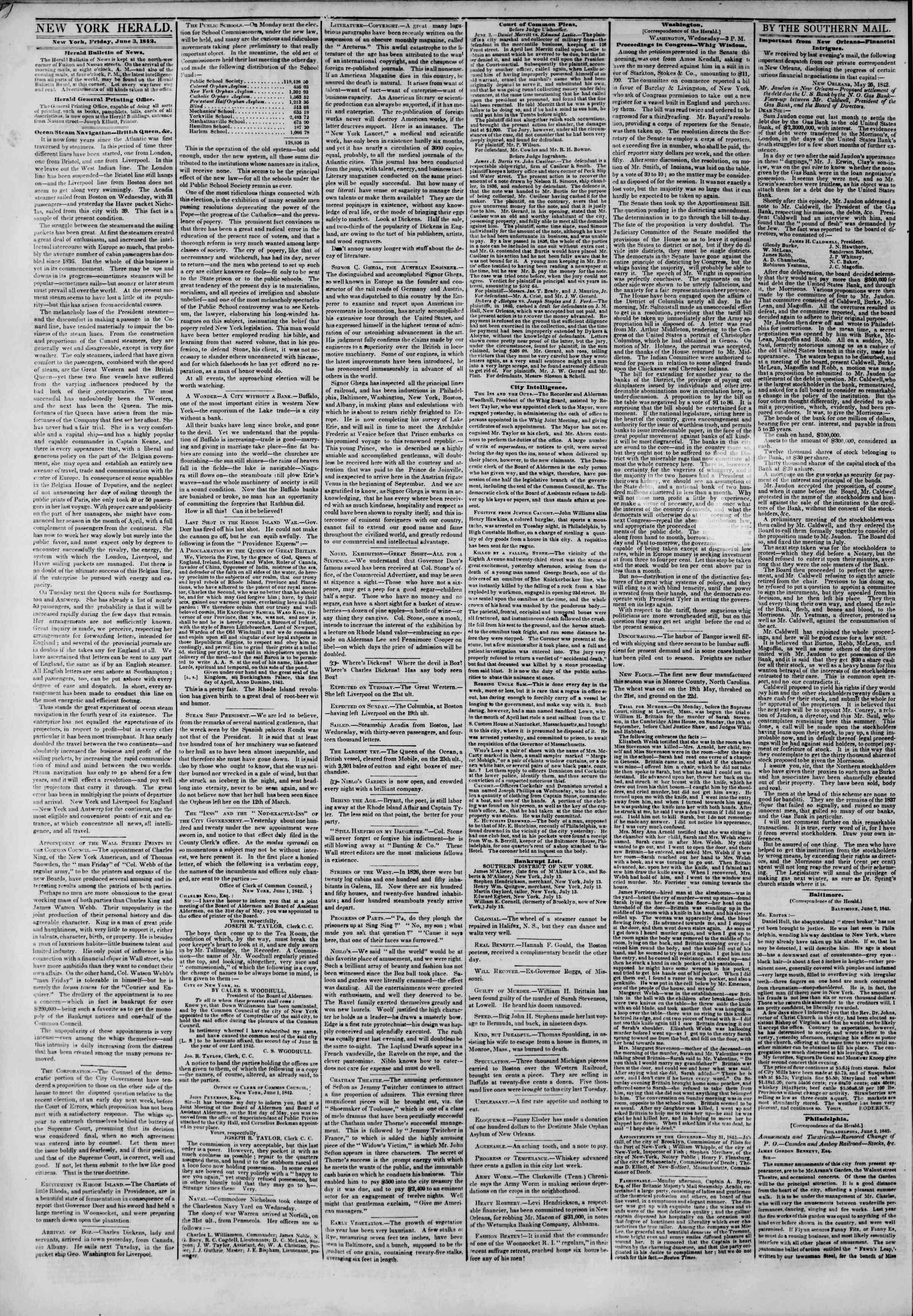 June 3, 1842 Tarihli The New York Herald Gazetesi Sayfa 2