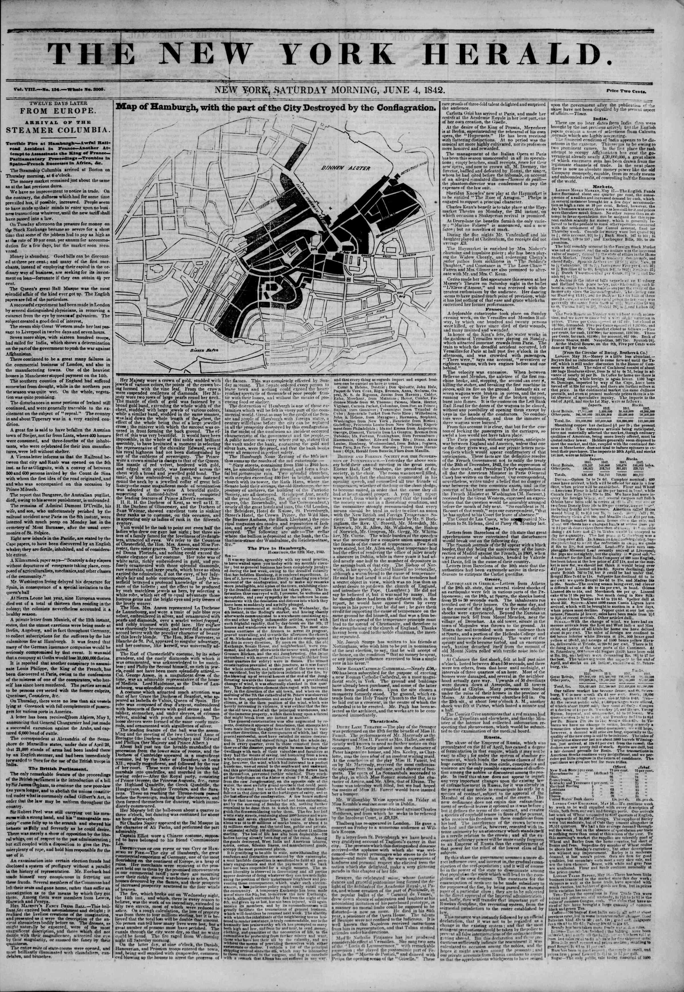 June 4, 1842 Tarihli The New York Herald Gazetesi Sayfa 1