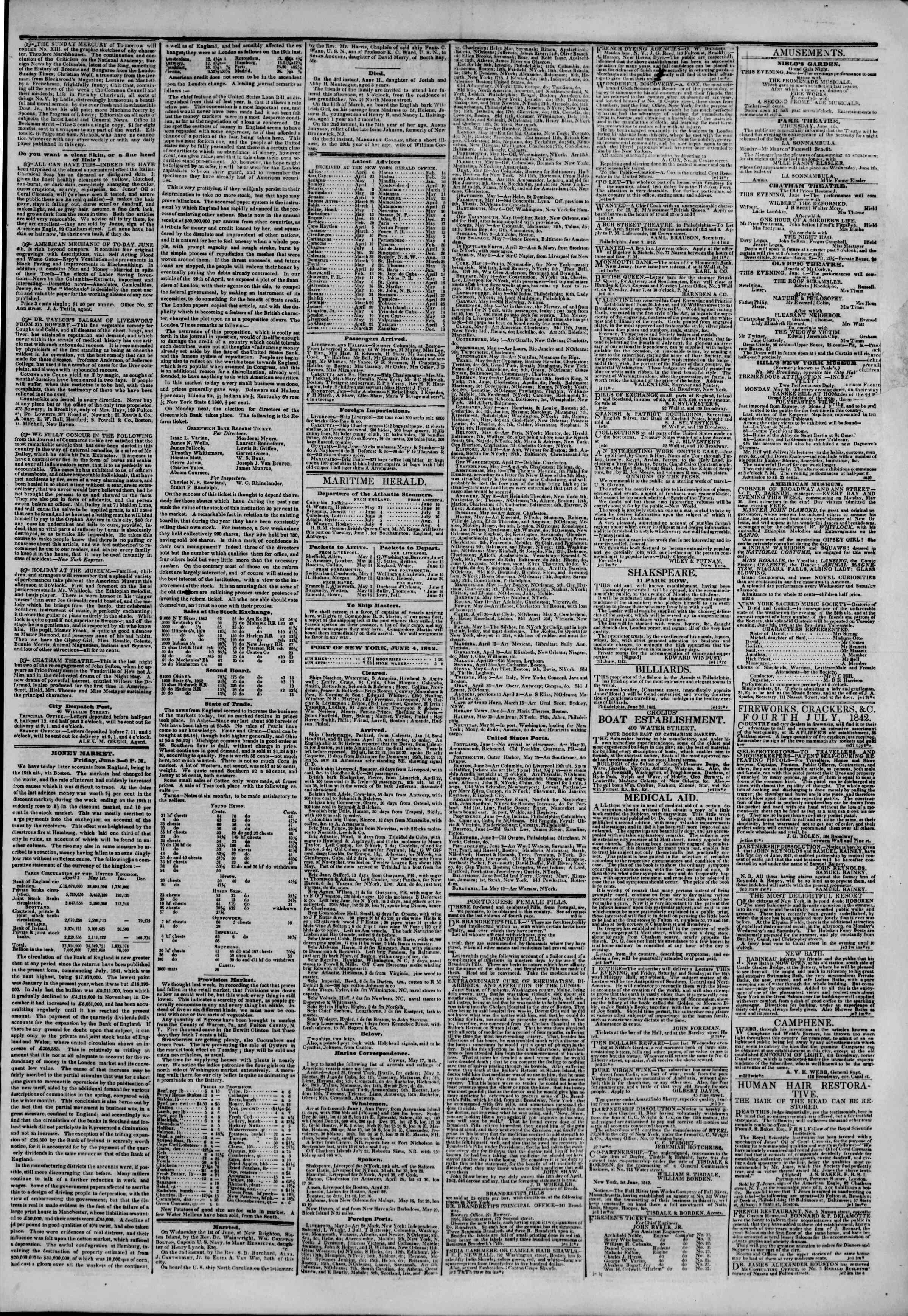 June 4, 1842 Tarihli The New York Herald Gazetesi Sayfa 3
