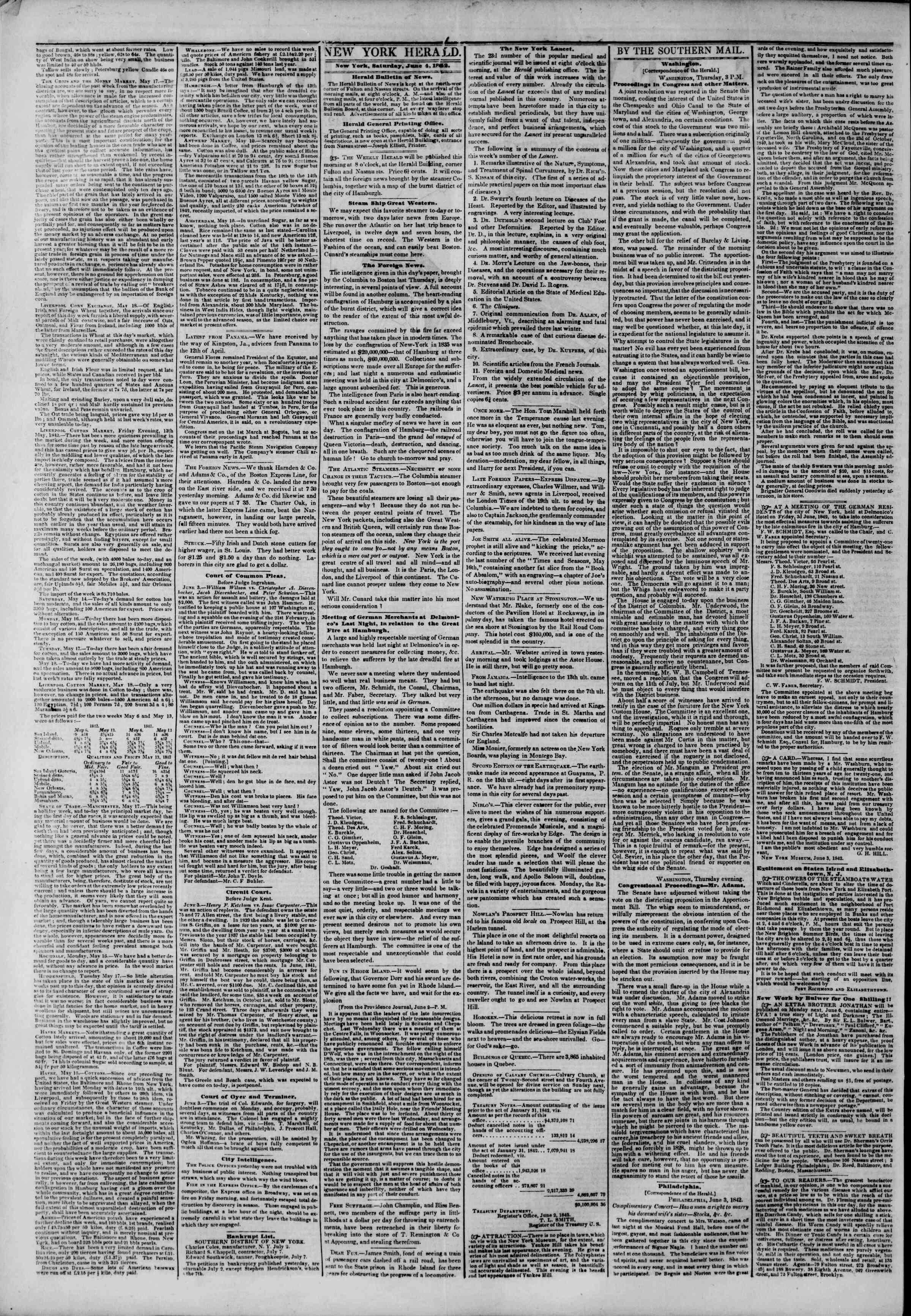 June 4, 1842 Tarihli The New York Herald Gazetesi Sayfa 4