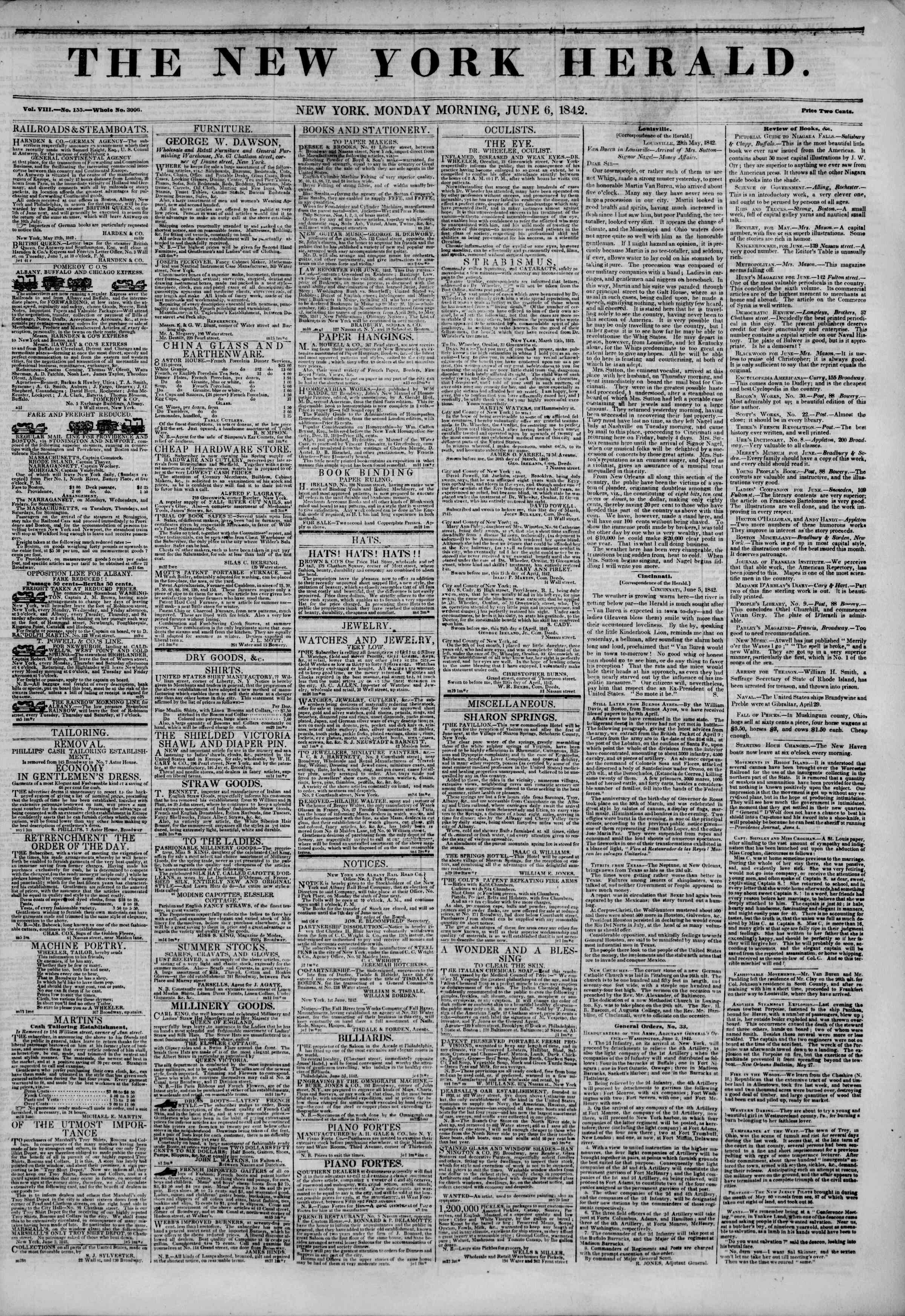 Newspaper of The New York Herald dated June 6, 1842 Page 1