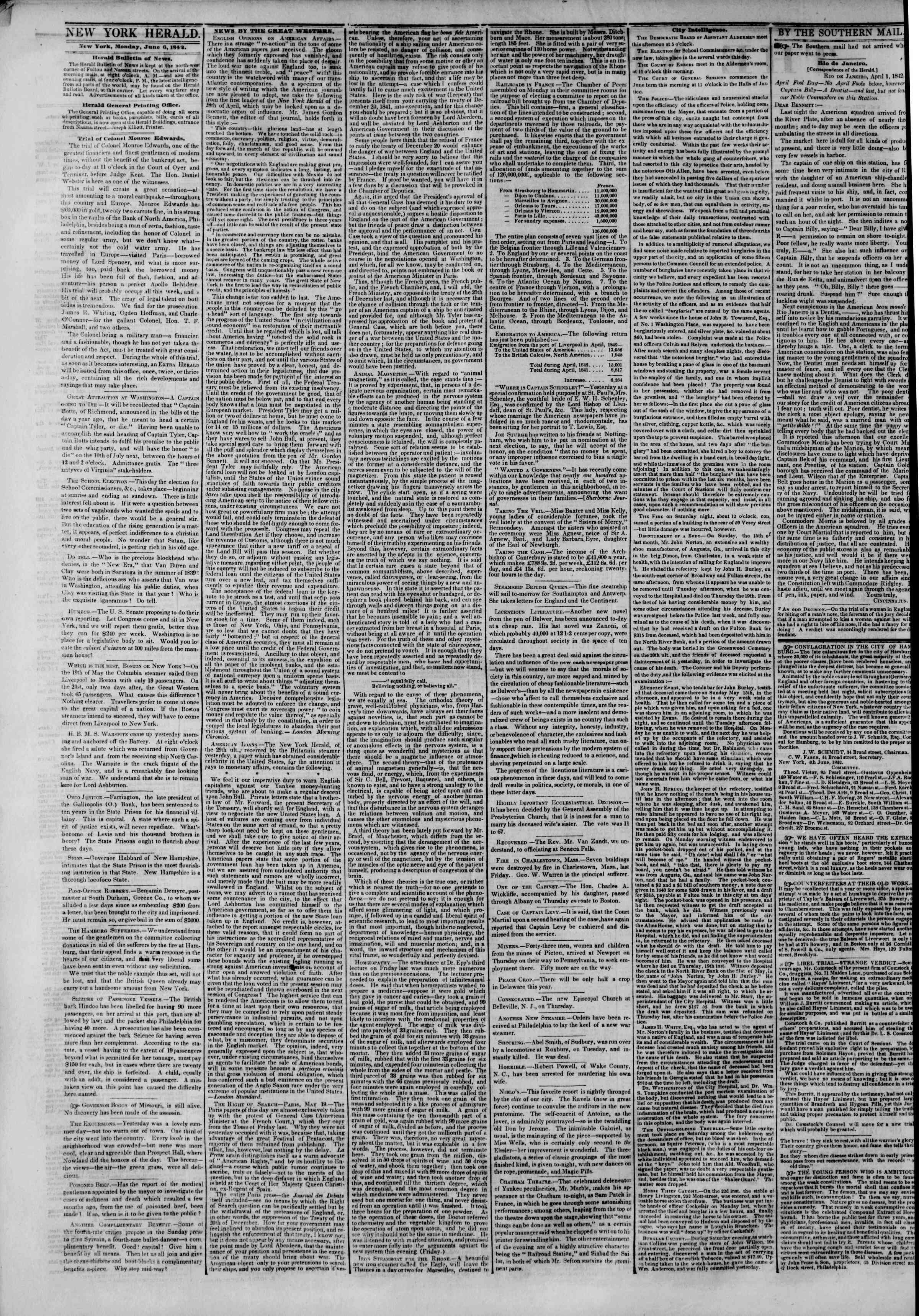Newspaper of The New York Herald dated June 6, 1842 Page 2