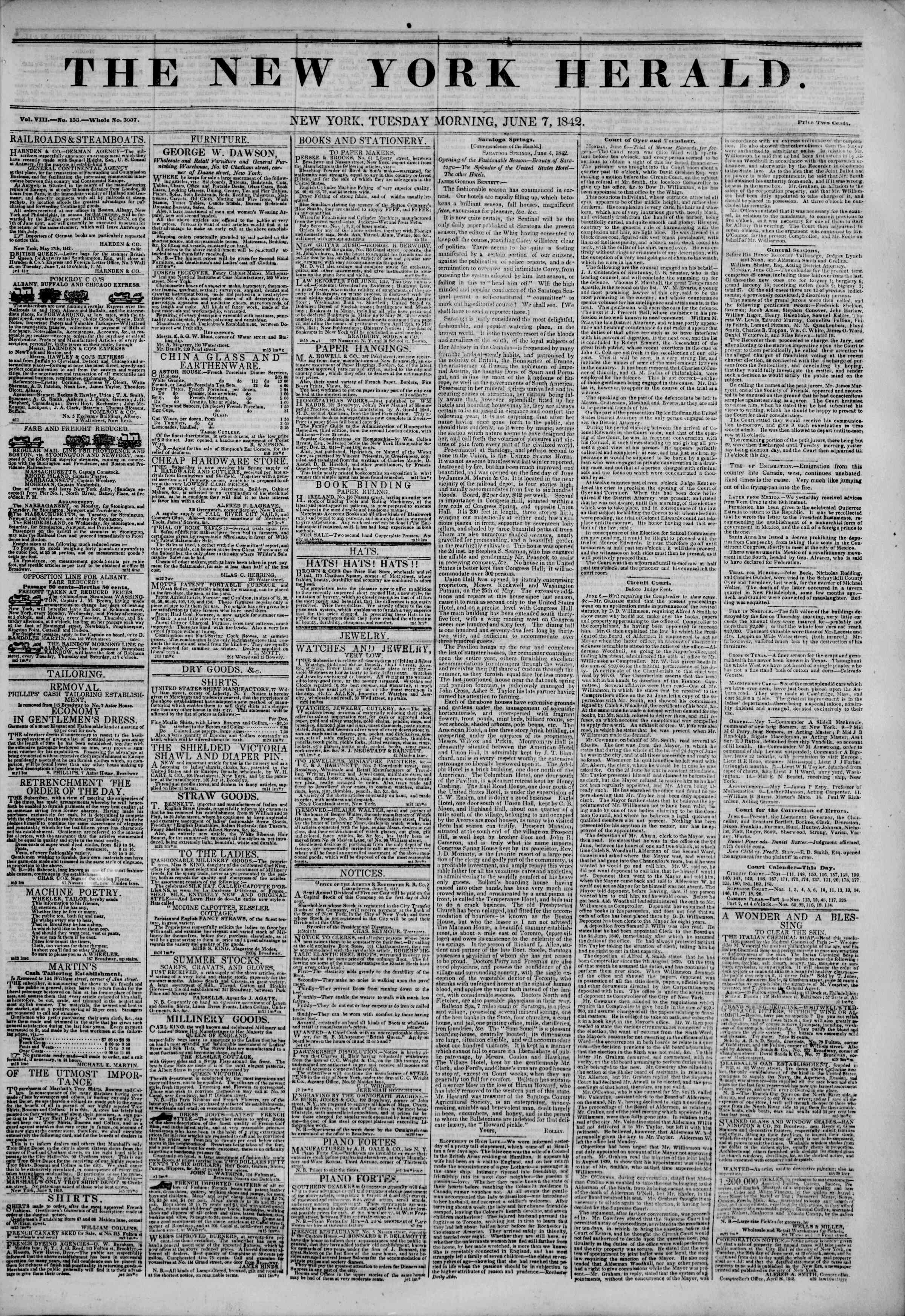 Newspaper of The New York Herald dated June 7, 1842 Page 1