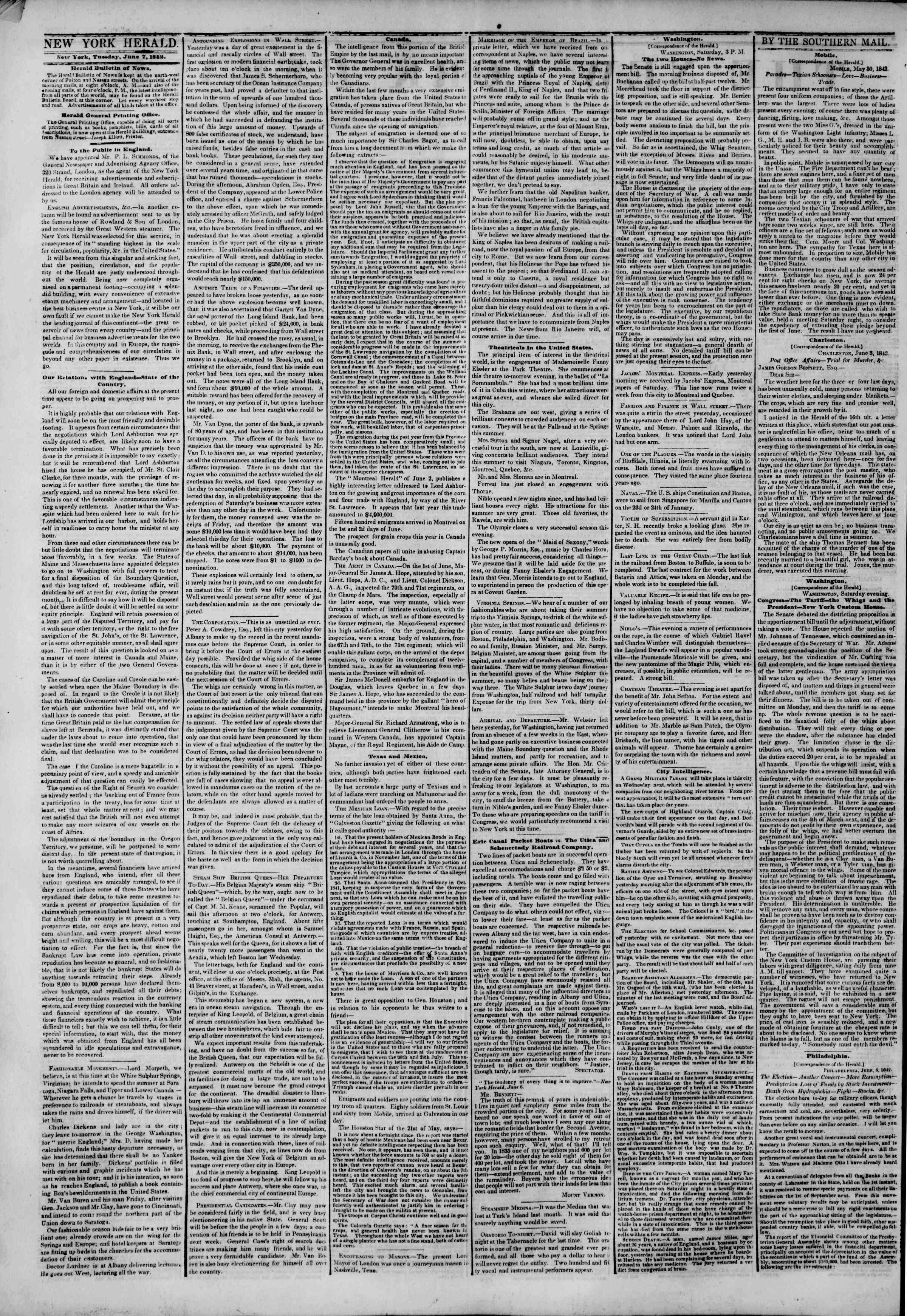 Newspaper of The New York Herald dated June 7, 1842 Page 2