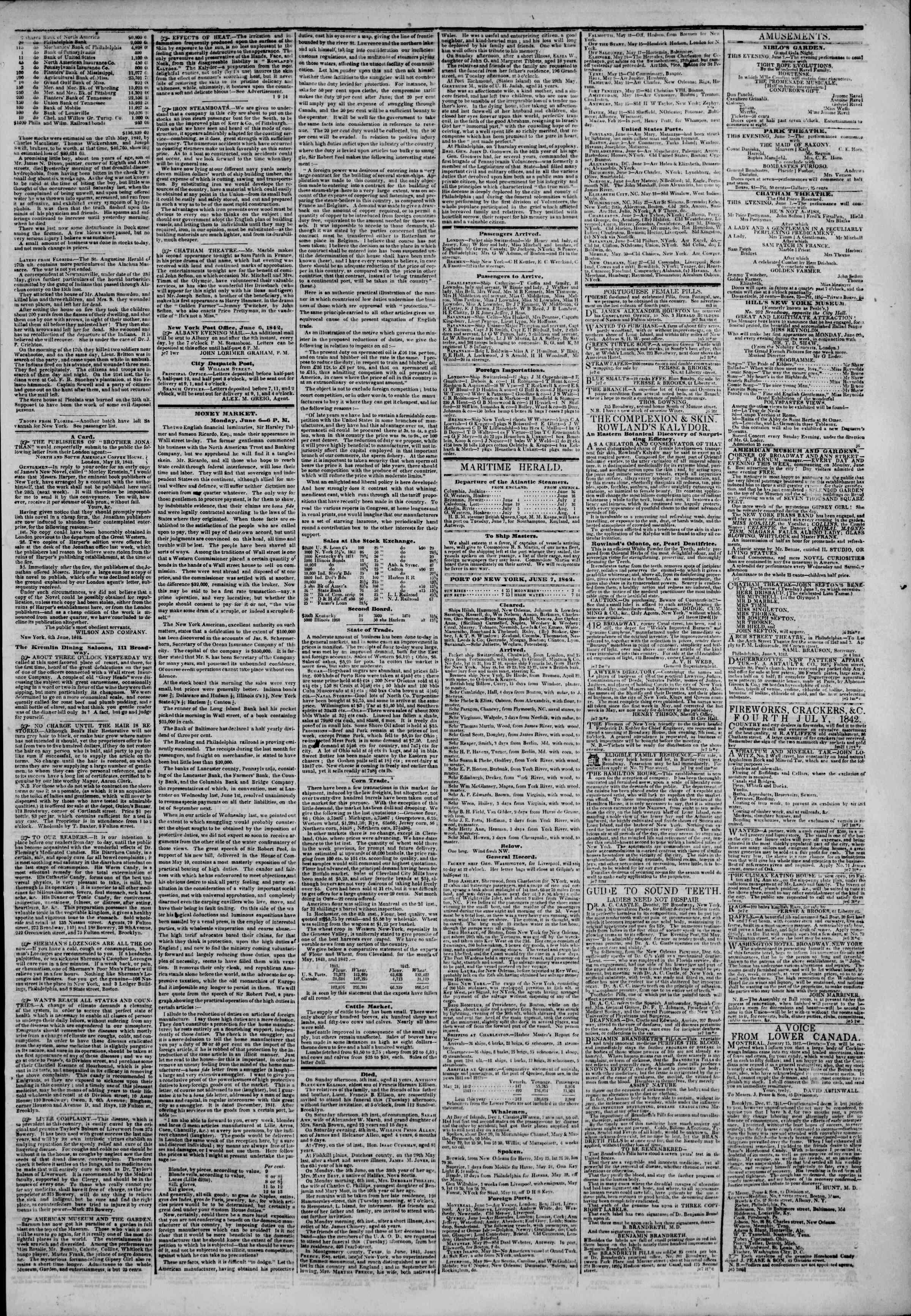June 7, 1842 Tarihli The New York Herald Gazetesi Sayfa 3