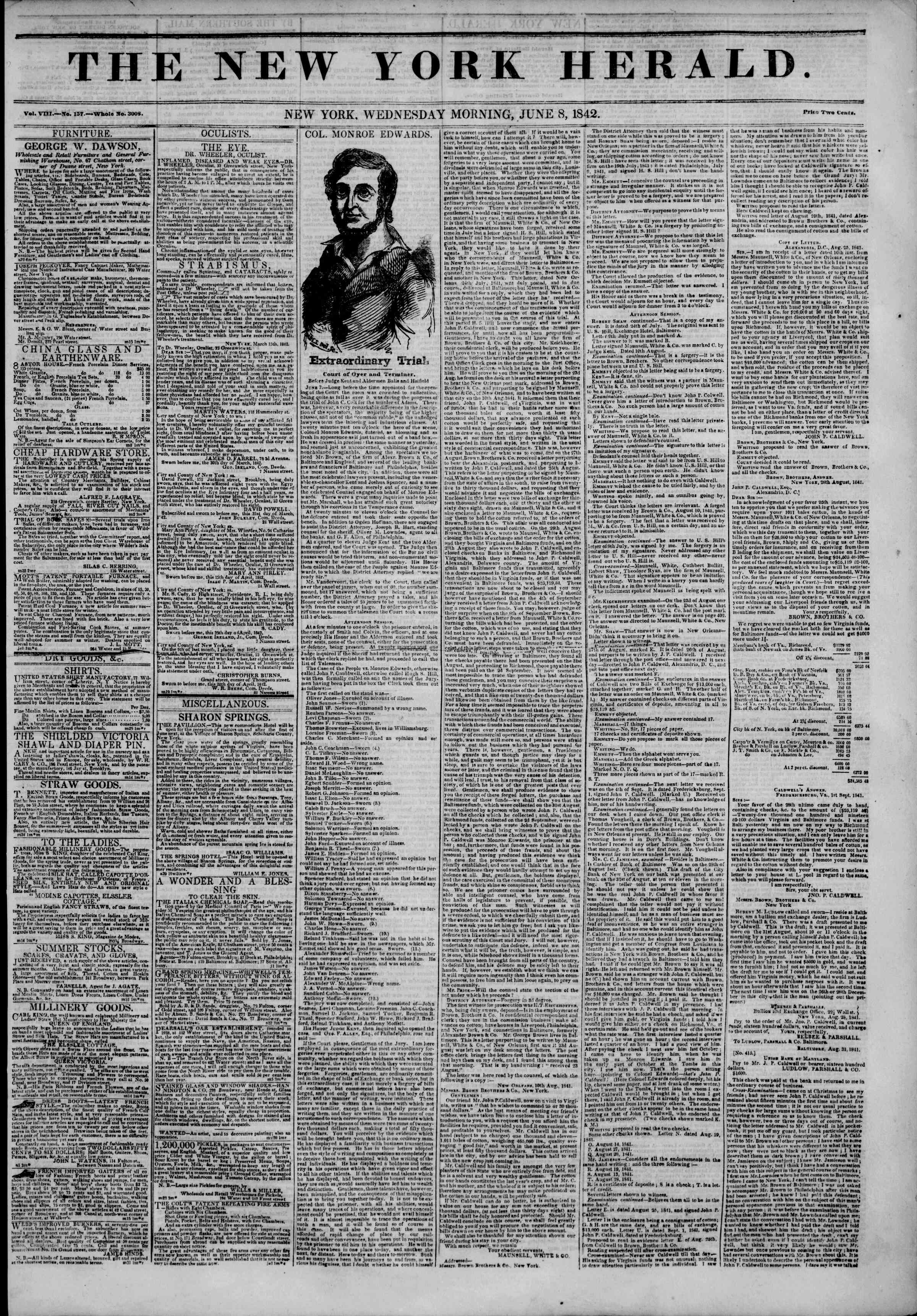 Newspaper of The New York Herald dated June 8, 1842 Page 1