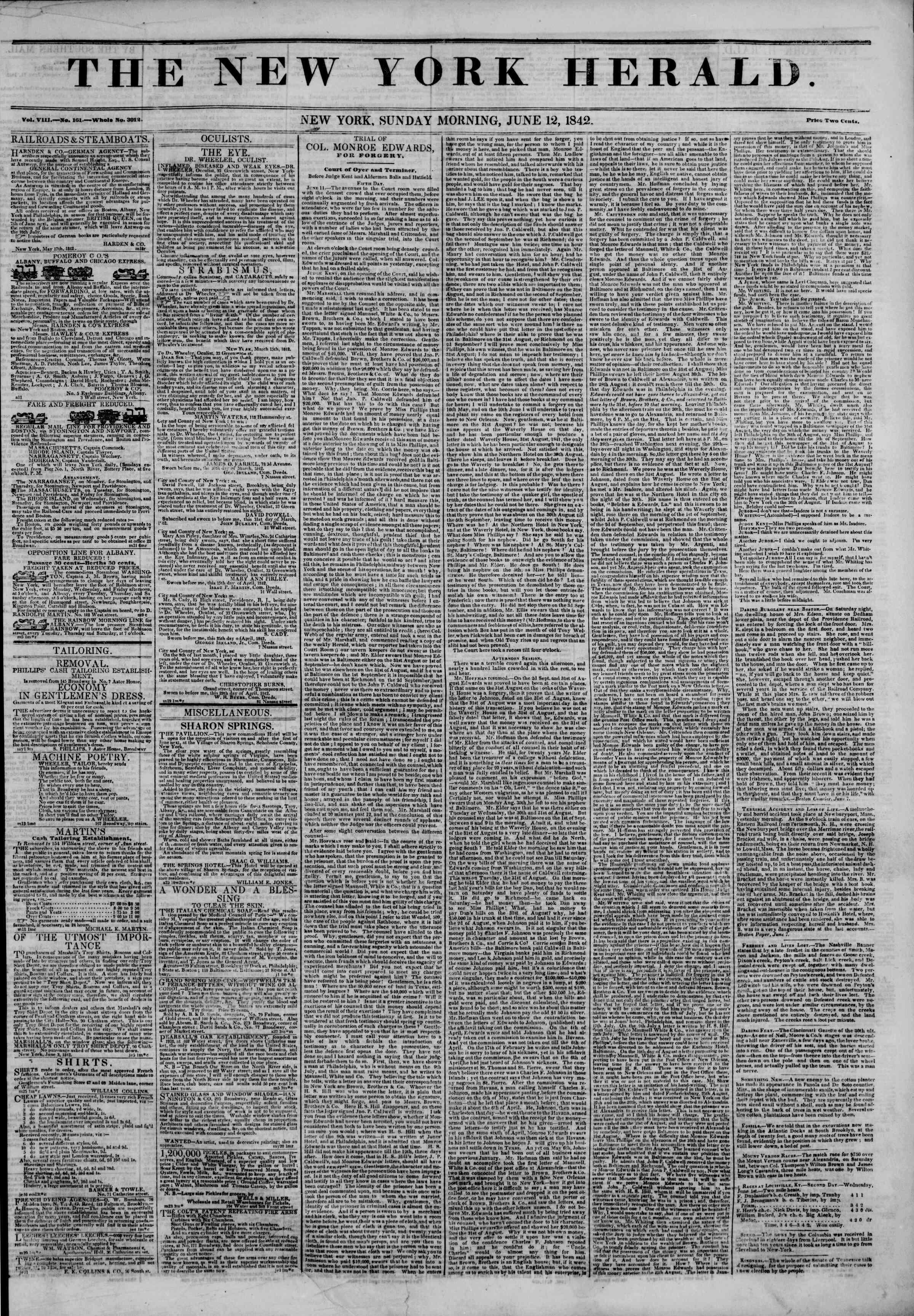 June 12, 1842 Tarihli The New York Herald Gazetesi Sayfa 1