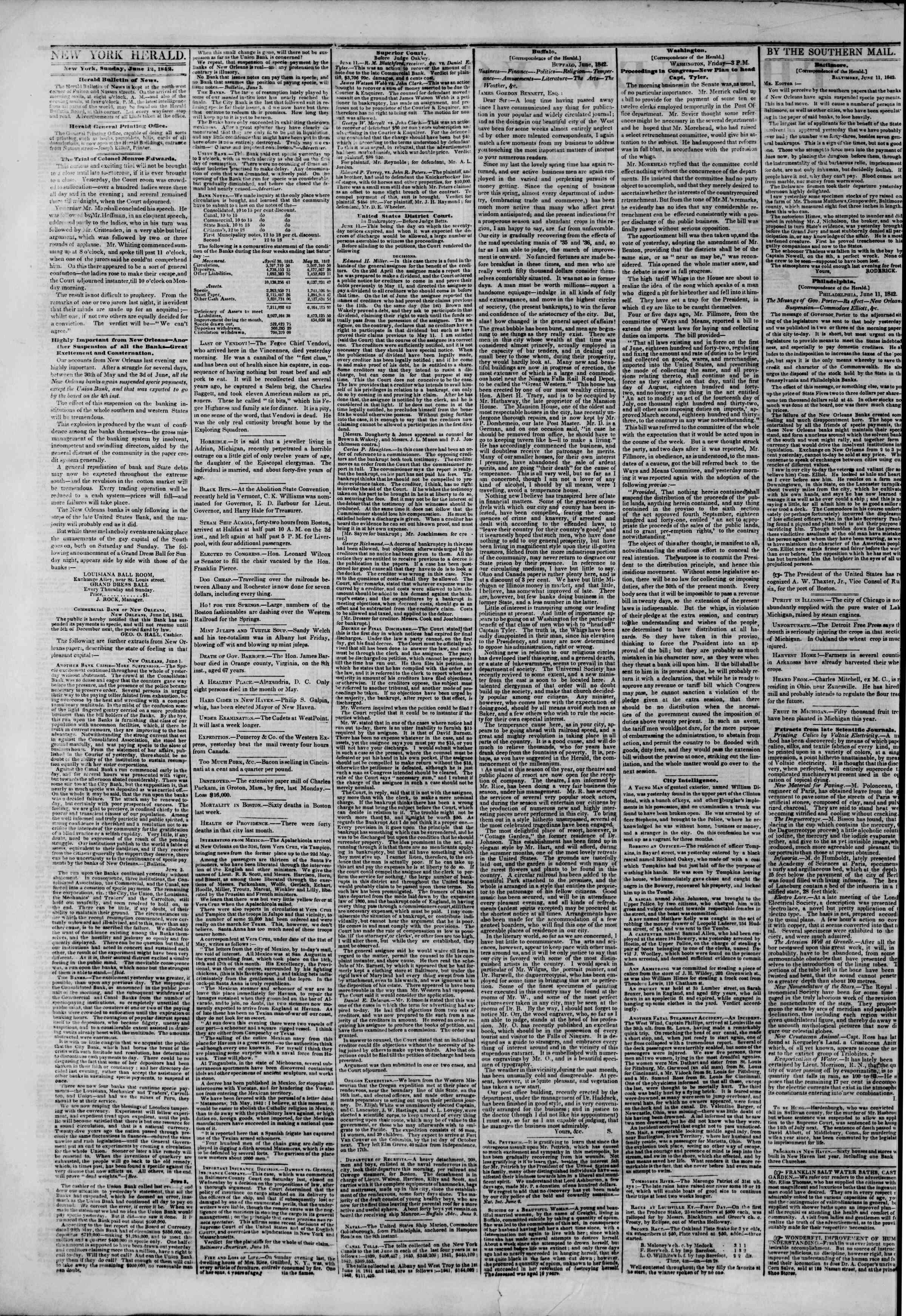 June 12, 1842 Tarihli The New York Herald Gazetesi Sayfa 2