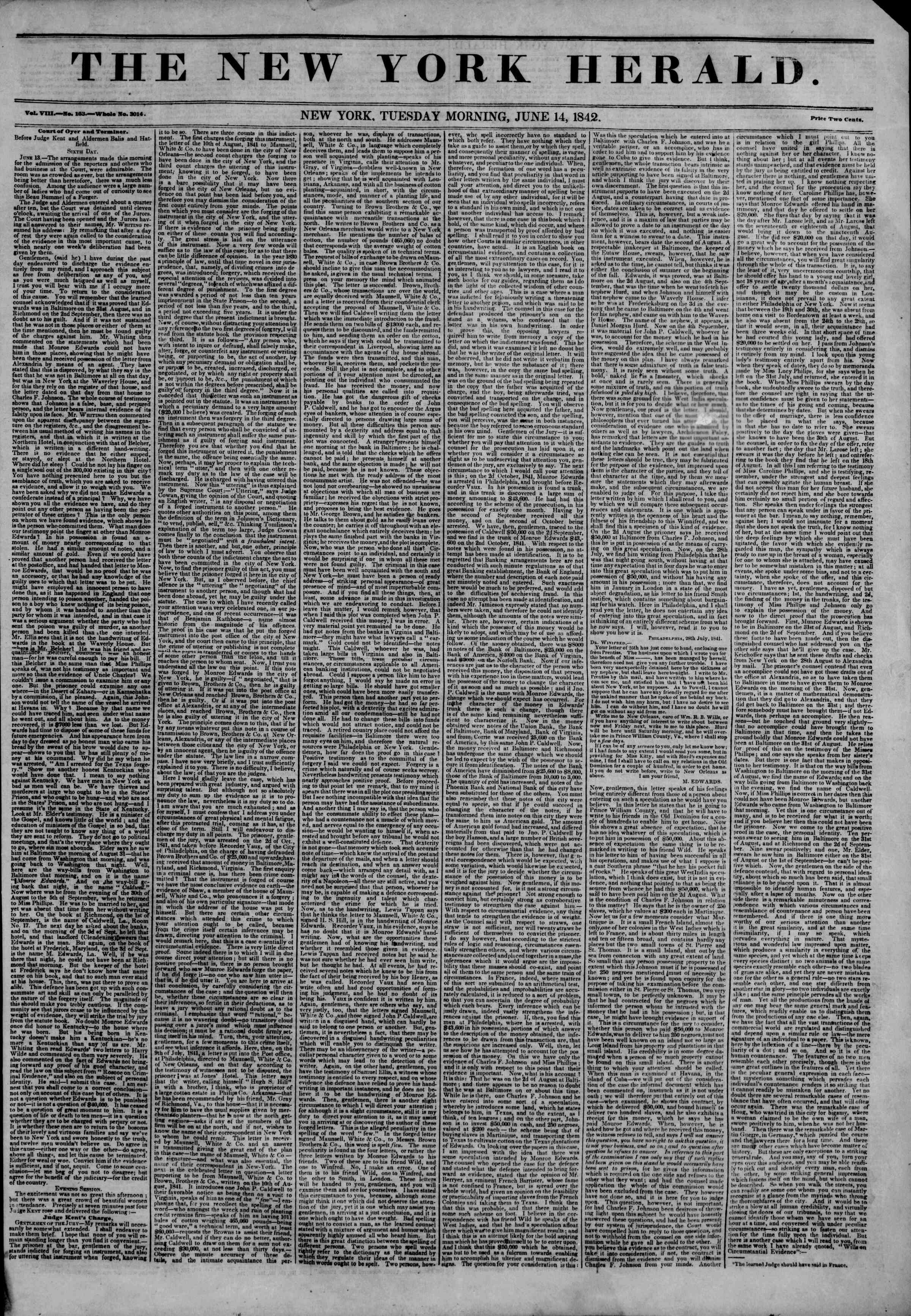 Newspaper of The New York Herald dated June 14, 1842 Page 1