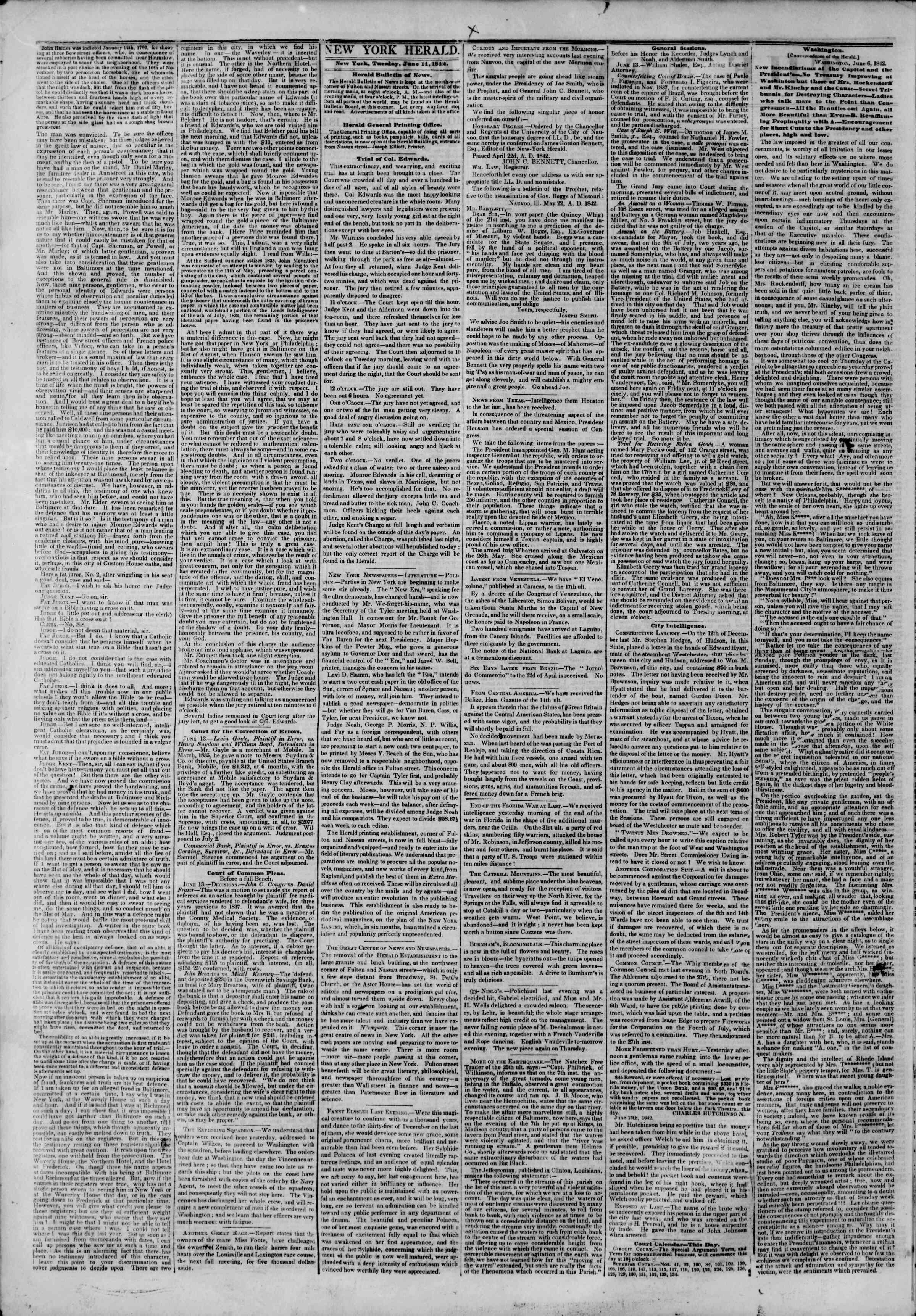 June 14, 1842 Tarihli The New York Herald Gazetesi Sayfa 2