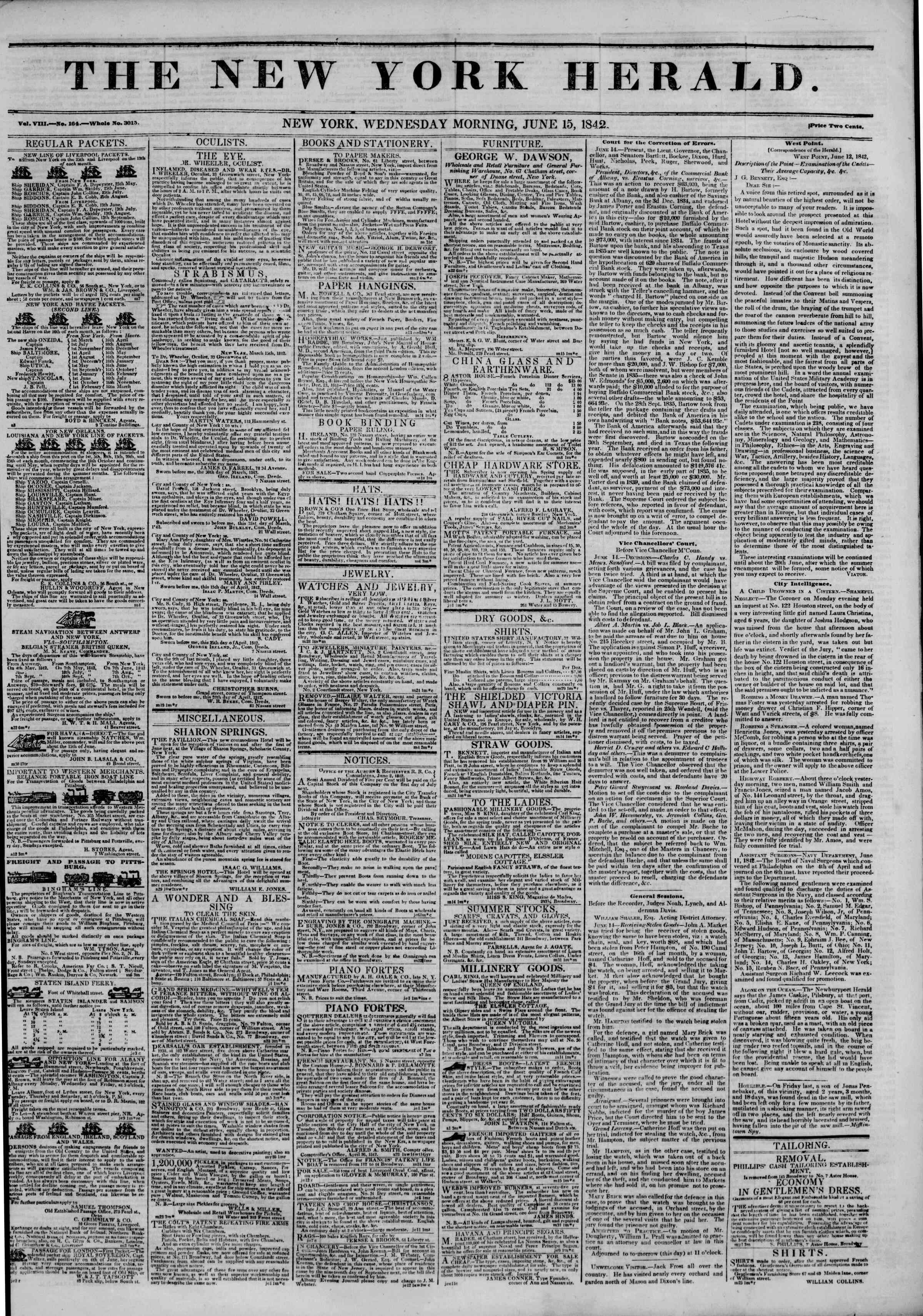 Newspaper of The New York Herald dated June 15, 1842 Page 1