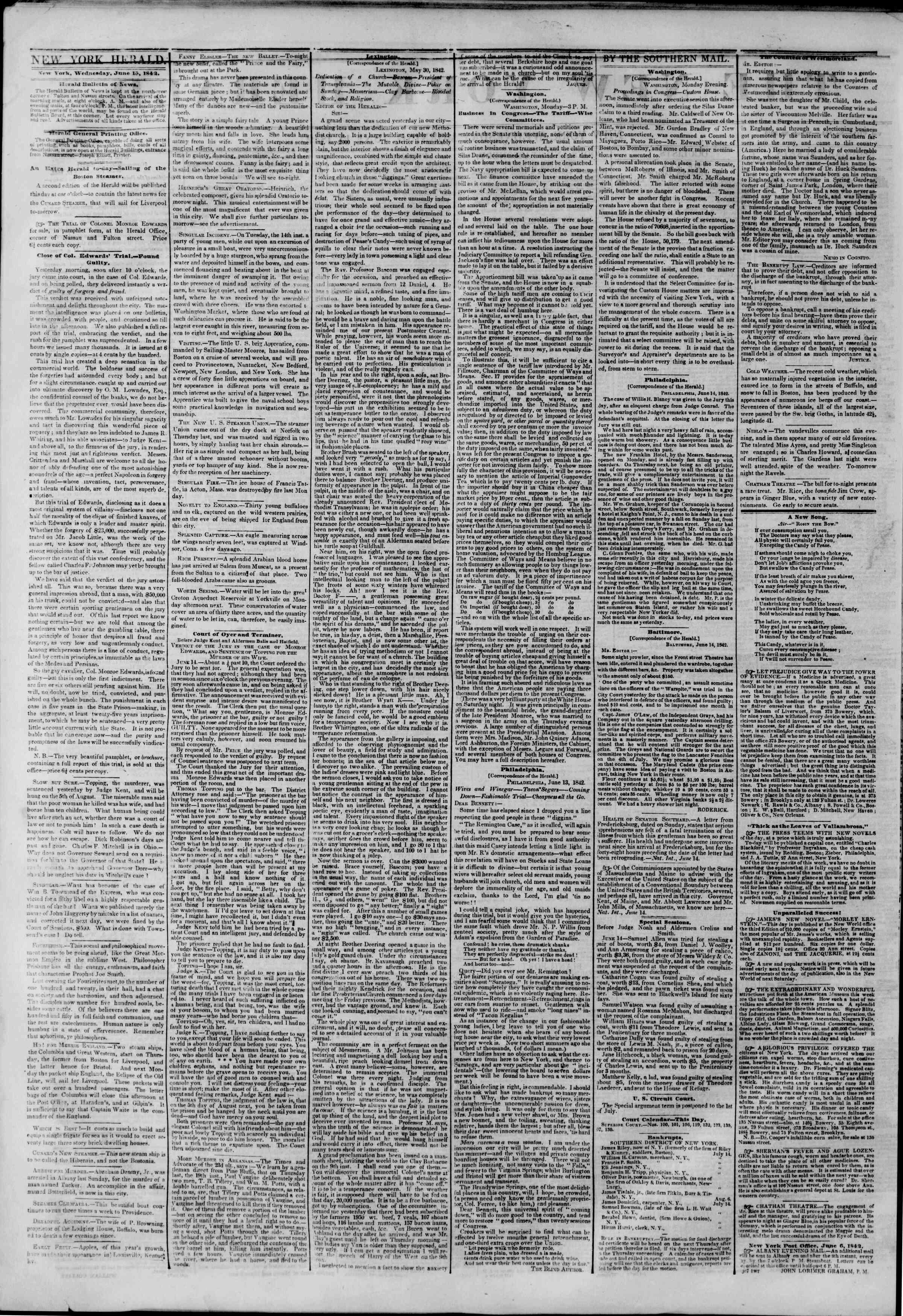 June 15, 1842 Tarihli The New York Herald Gazetesi Sayfa 2