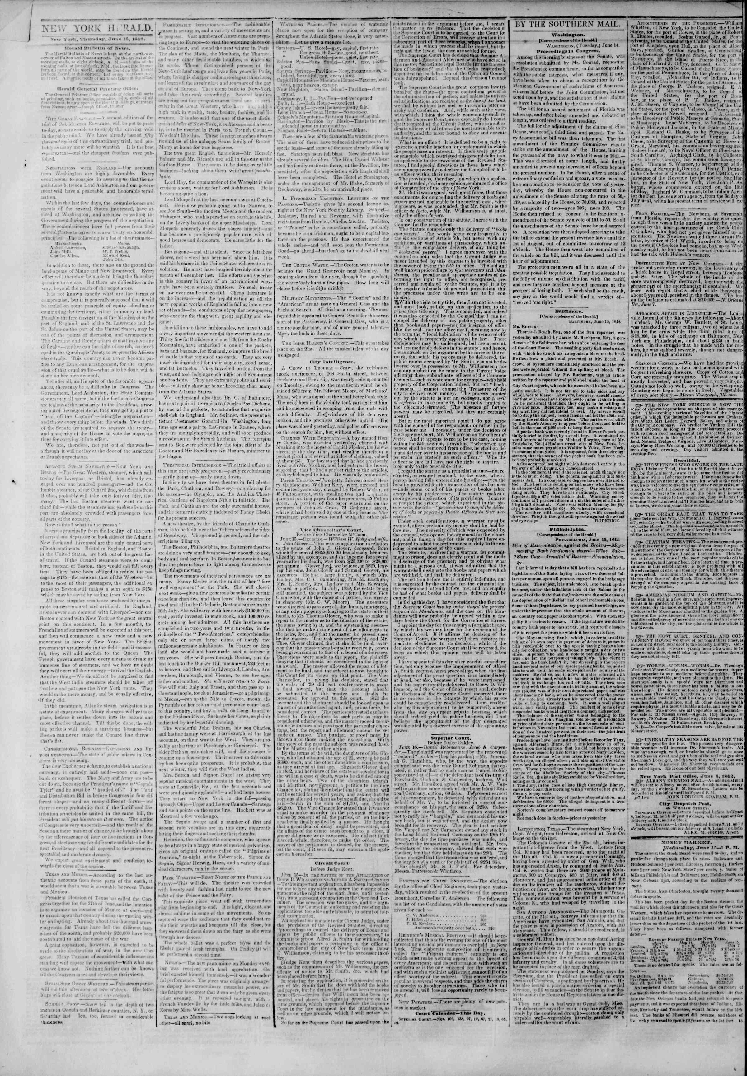 June 16, 1842 Tarihli The New York Herald Gazetesi Sayfa 2