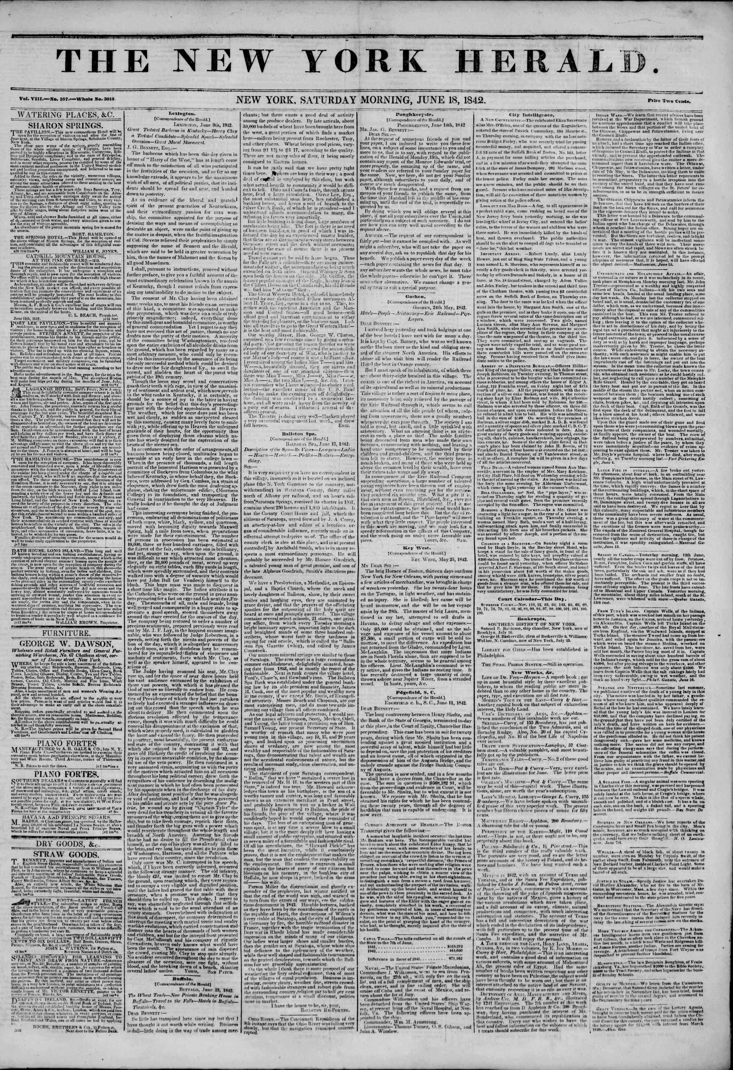 June 18, 1842 Tarihli The New York Herald Gazetesi Sayfa 1