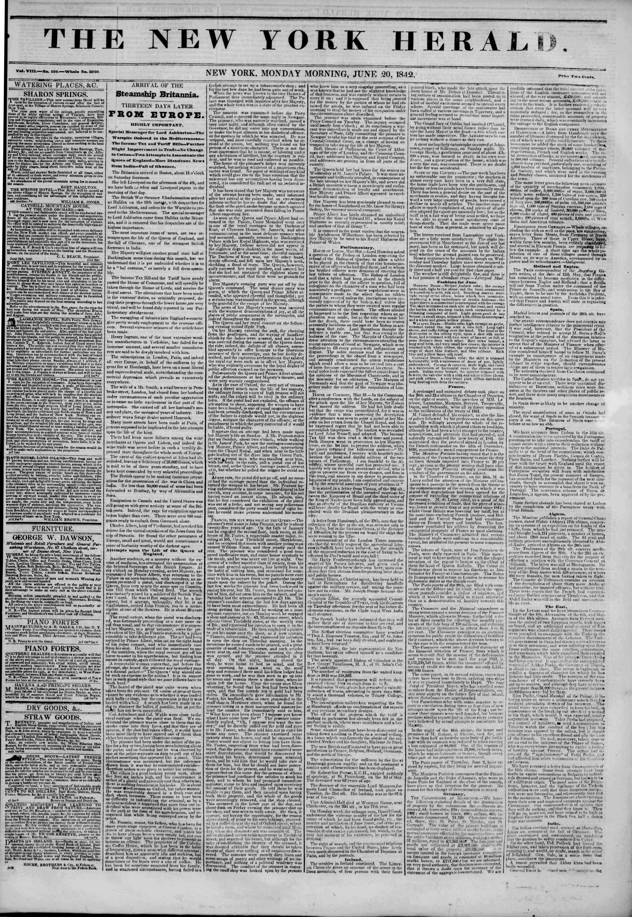 Newspaper of The New York Herald dated June 20, 1842 Page 1