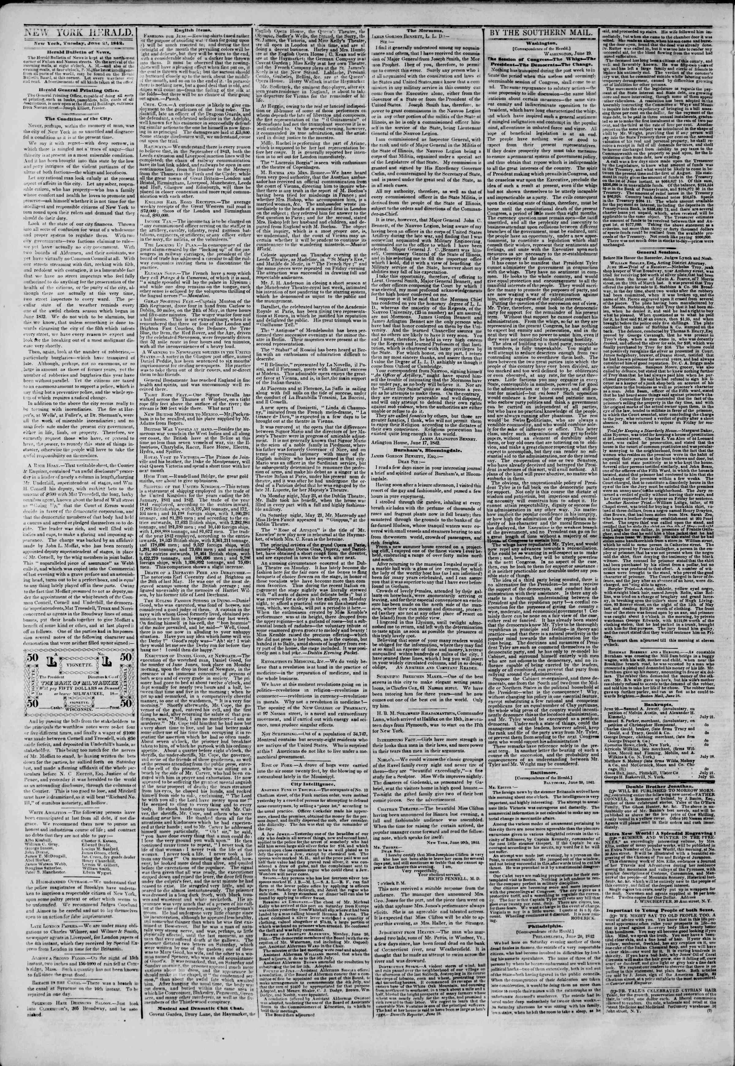 Newspaper of The New York Herald dated June 21, 1842 Page 2