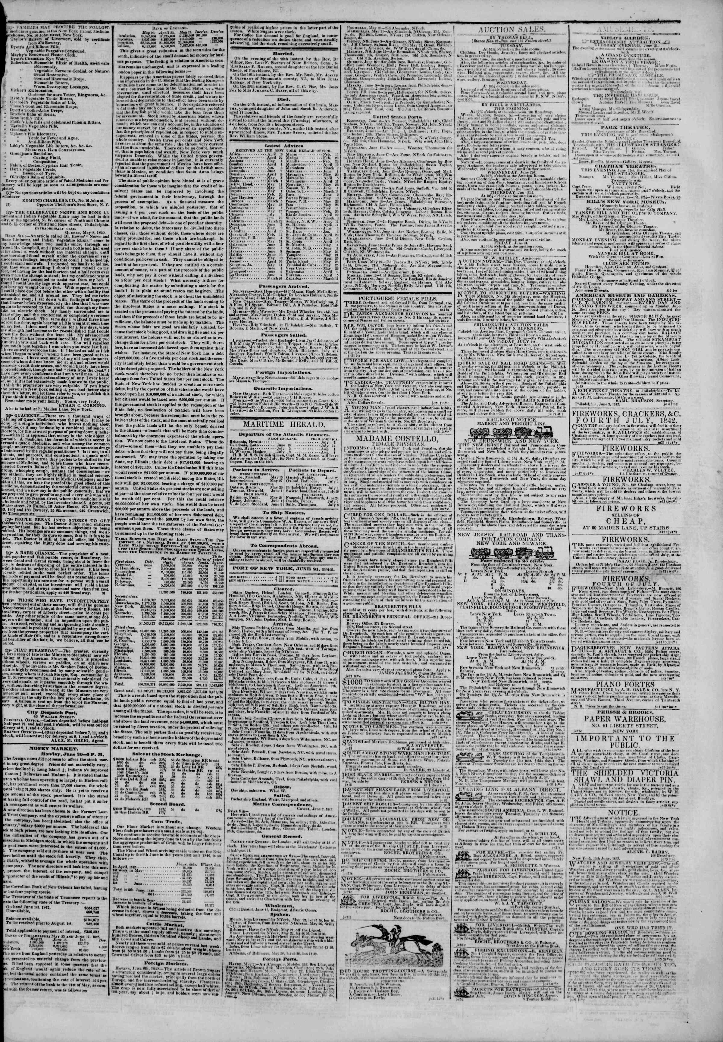 June 21, 1842 Tarihli The New York Herald Gazetesi Sayfa 3