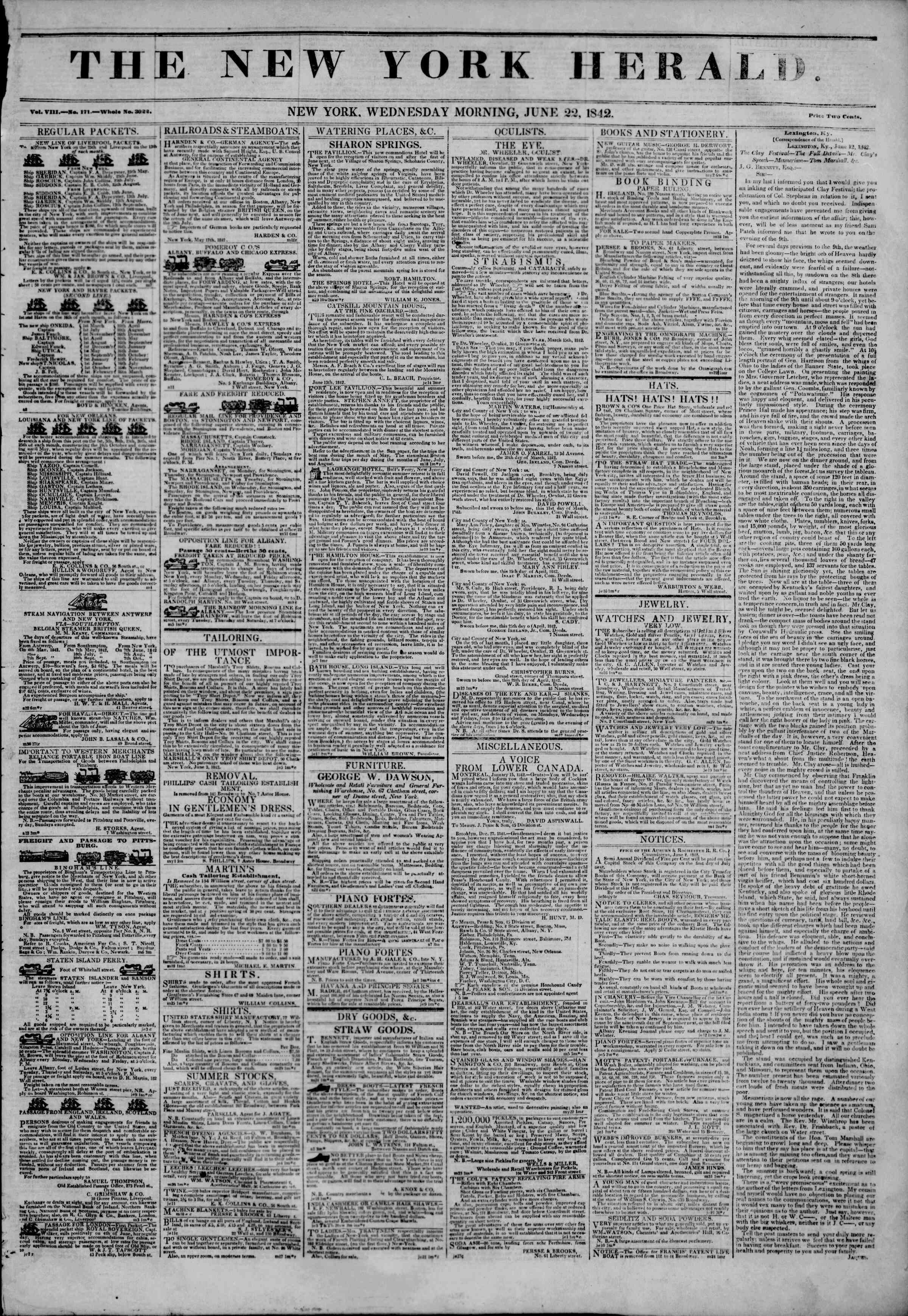 Newspaper of The New York Herald dated June 22, 1842 Page 1