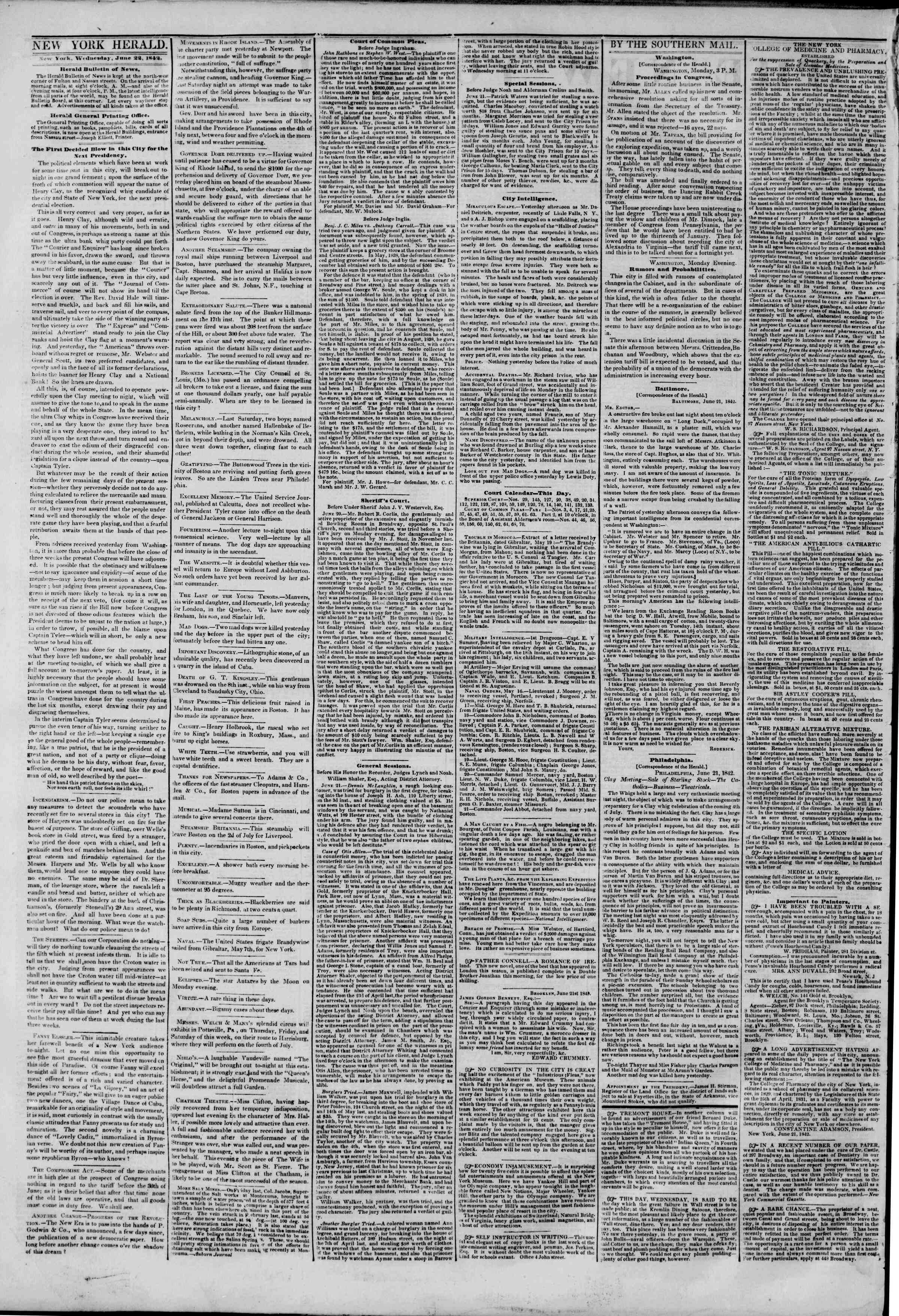 Newspaper of The New York Herald dated June 22, 1842 Page 2