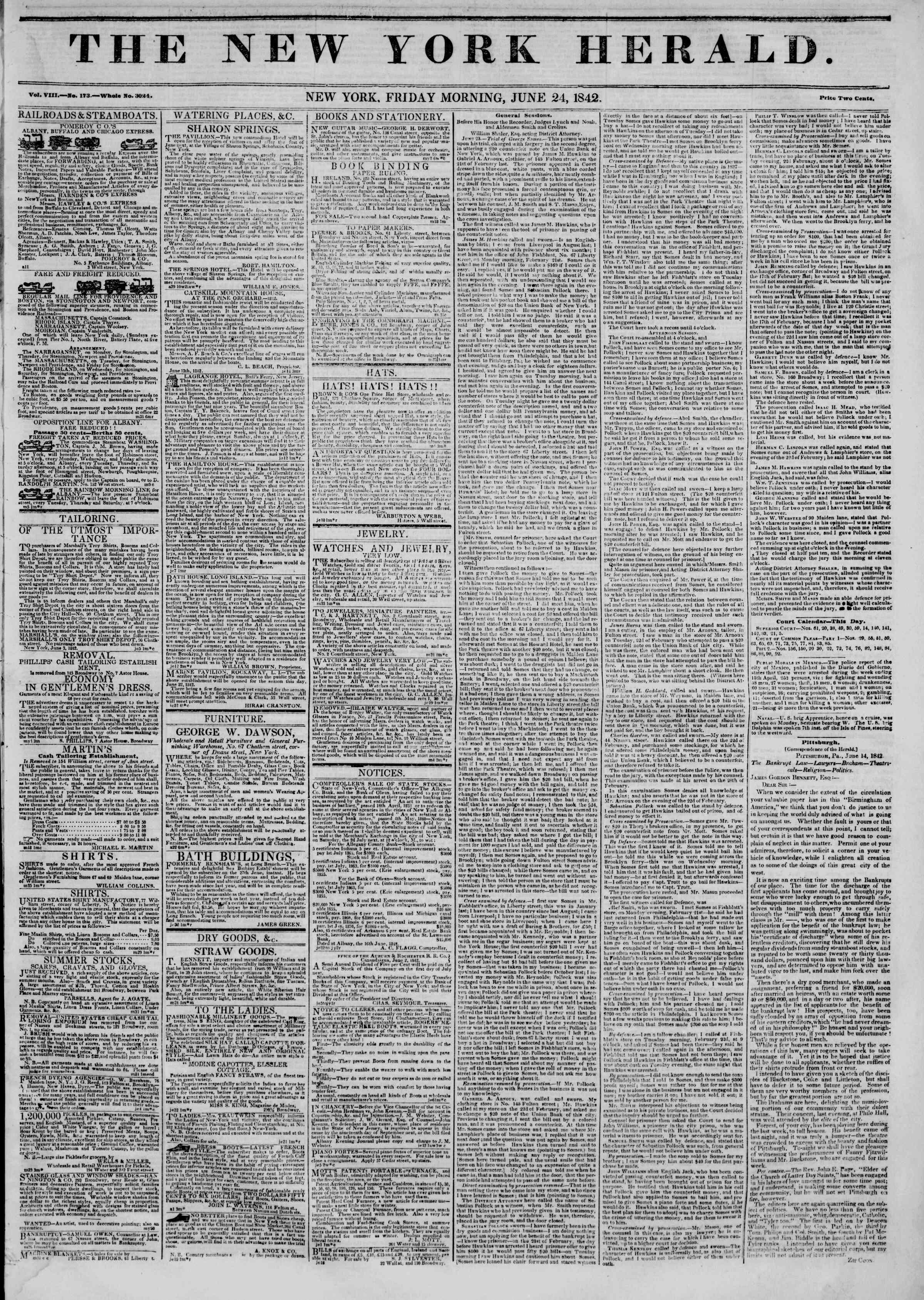 June 24, 1842 Tarihli The New York Herald Gazetesi Sayfa 1