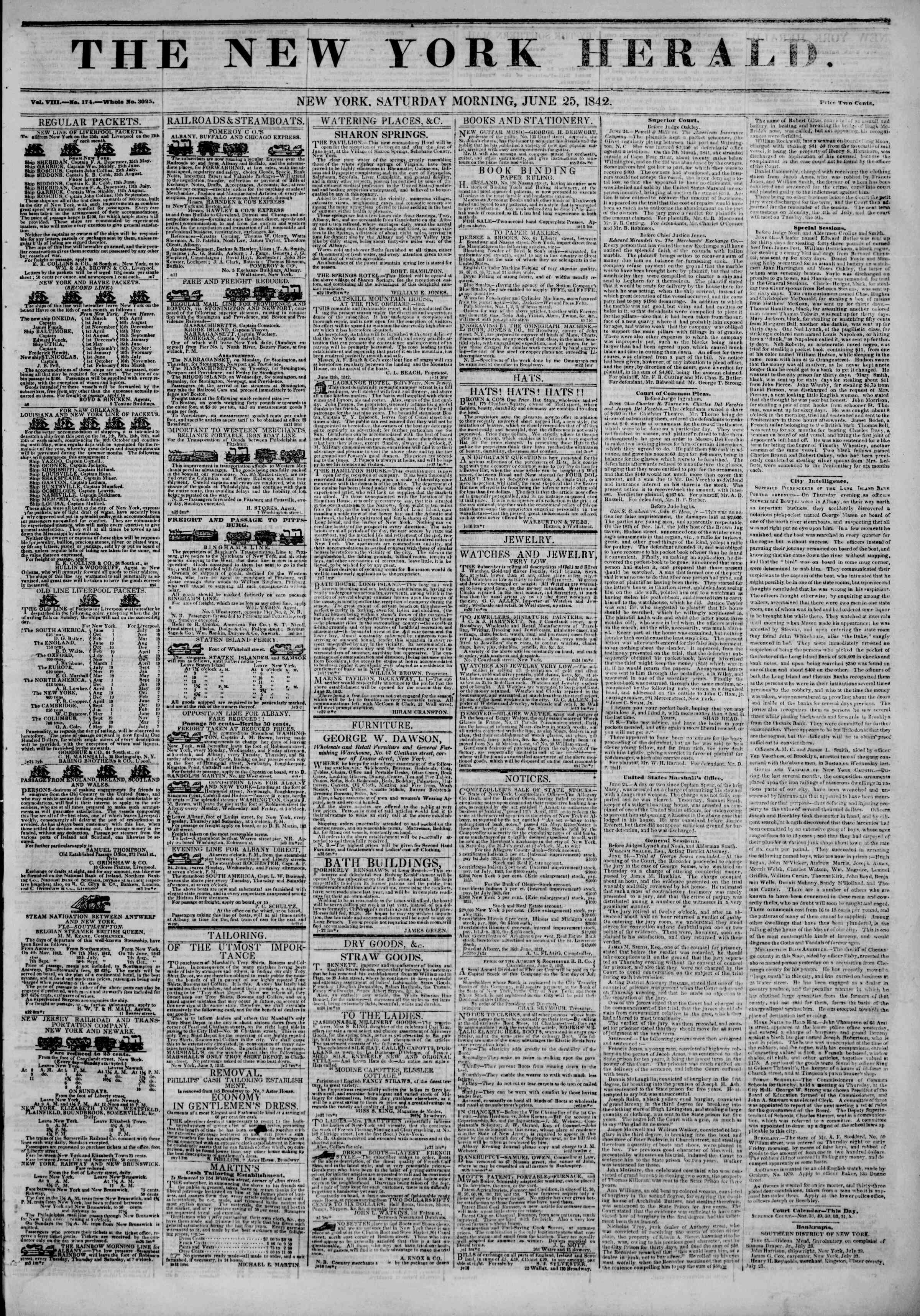 Newspaper of The New York Herald dated June 25, 1842 Page 1