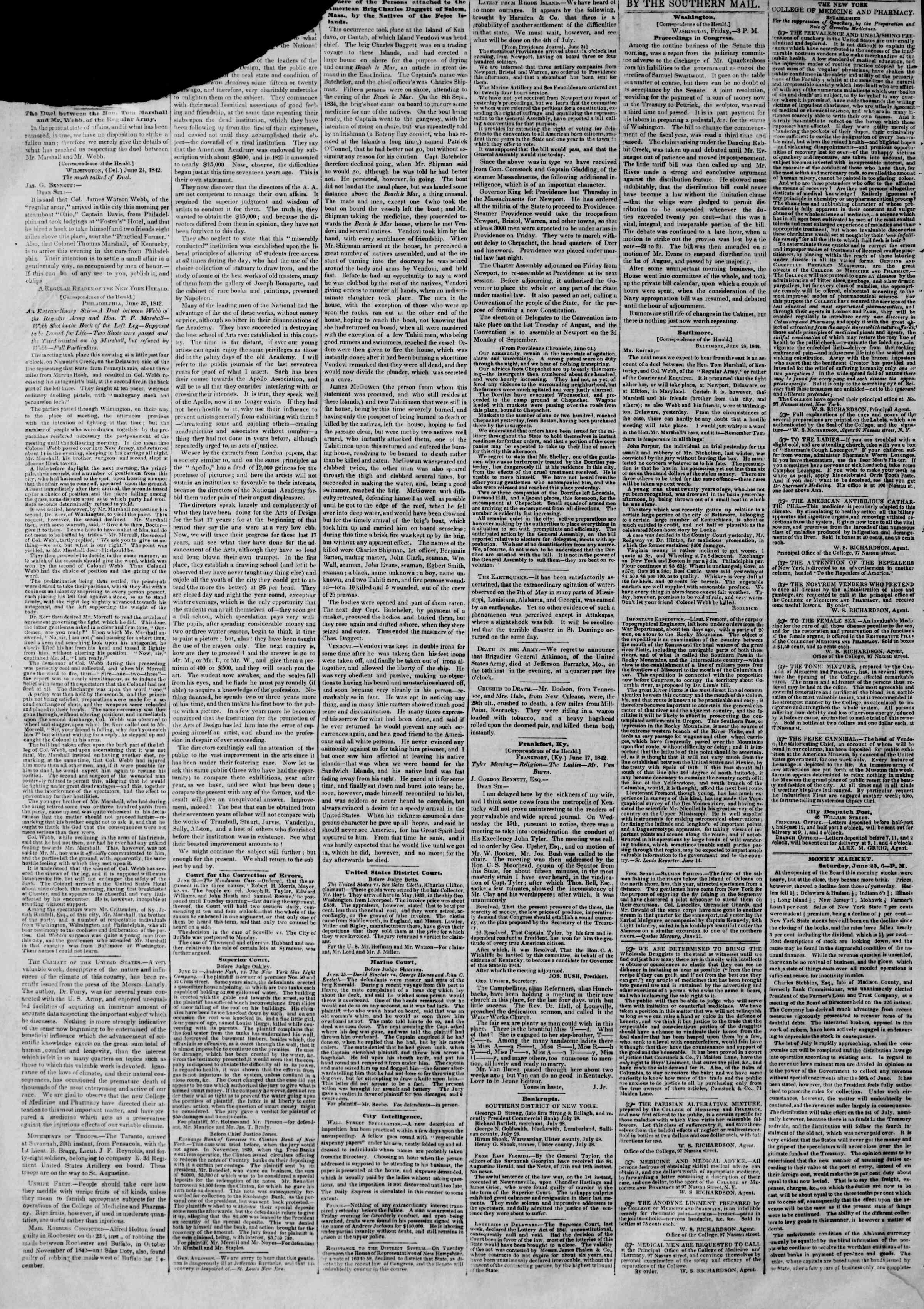 June 26, 1842 Tarihli The New York Herald Gazetesi Sayfa 2