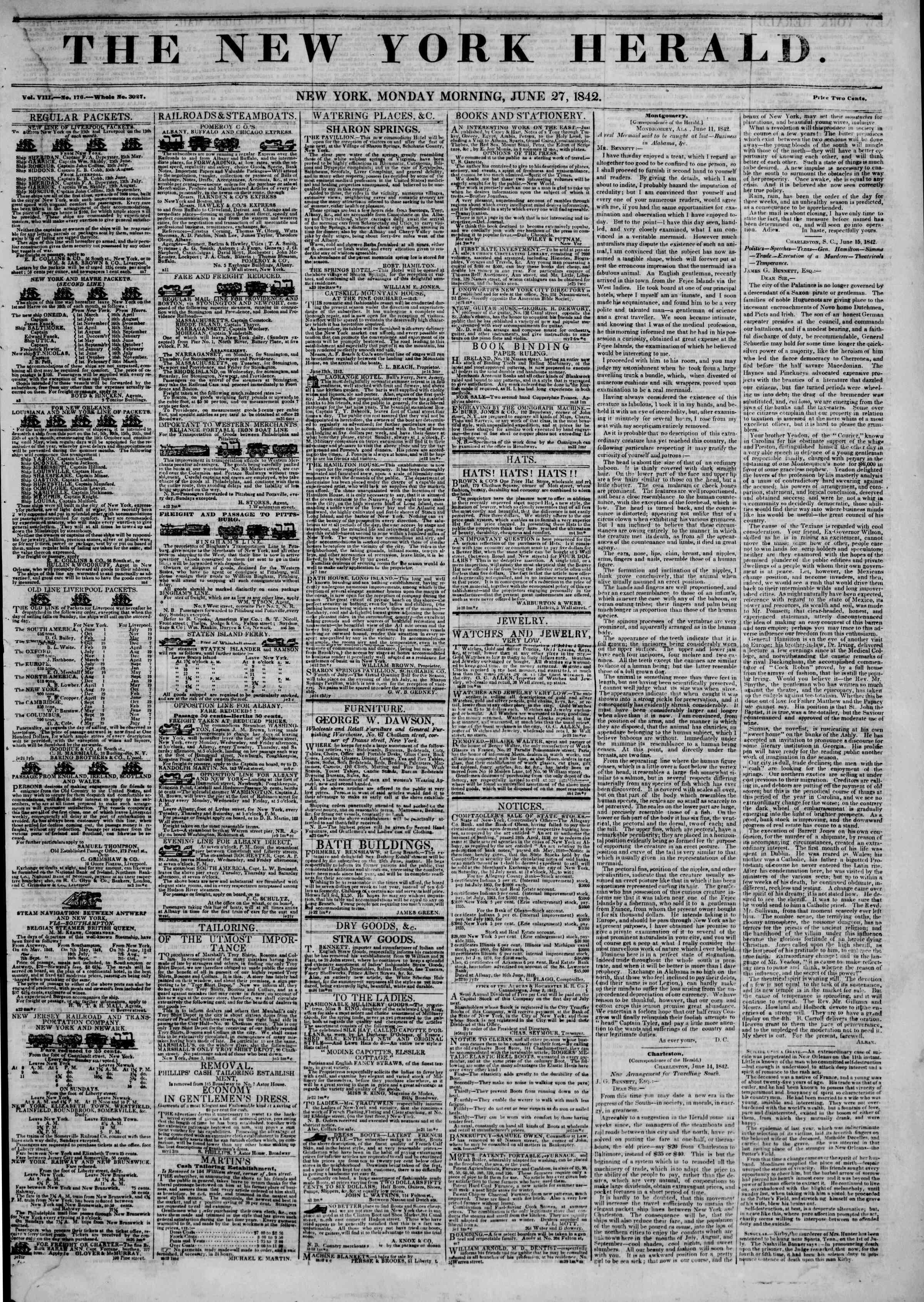 Newspaper of The New York Herald dated June 27, 1842 Page 1
