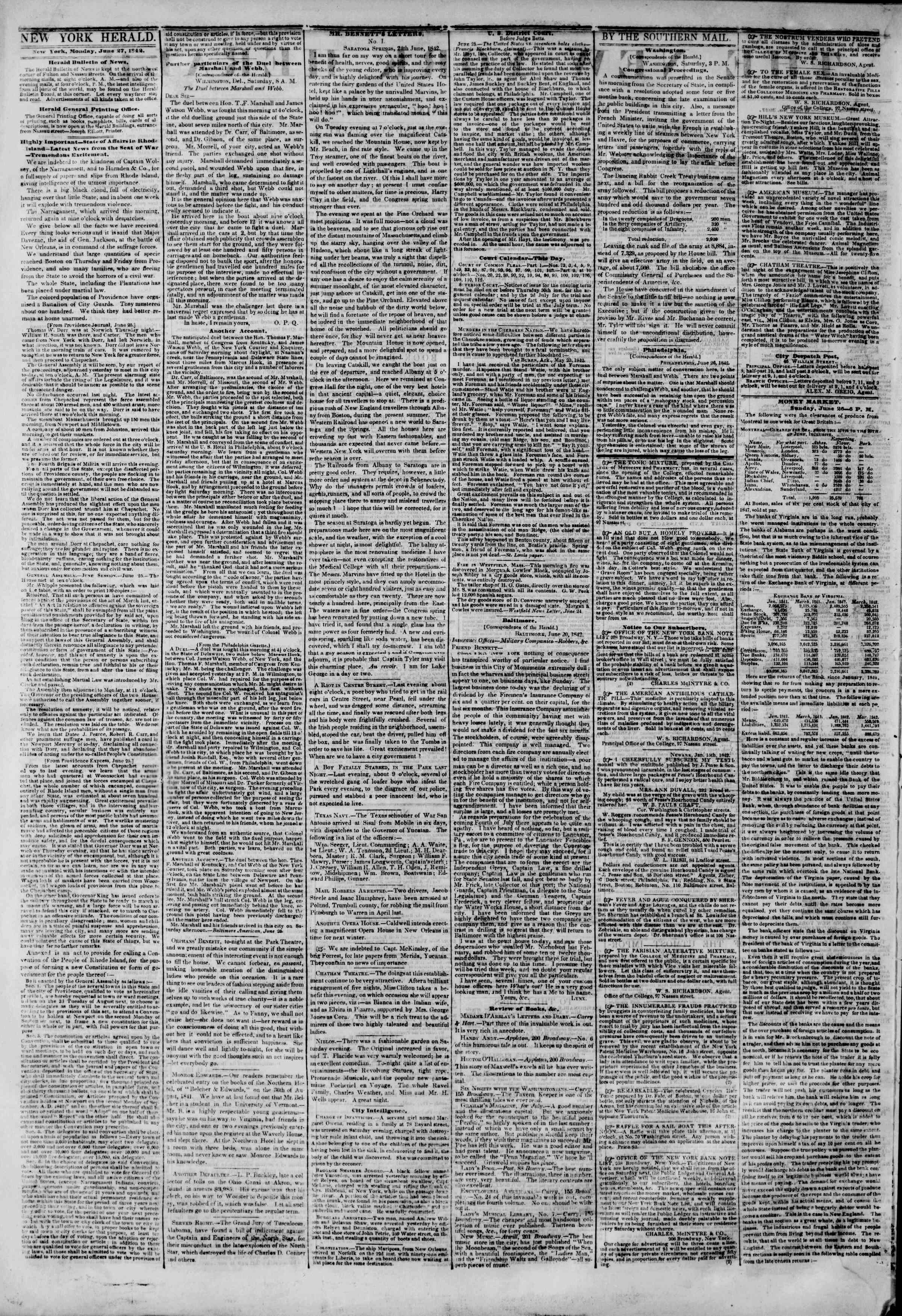 Newspaper of The New York Herald dated June 27, 1842 Page 2